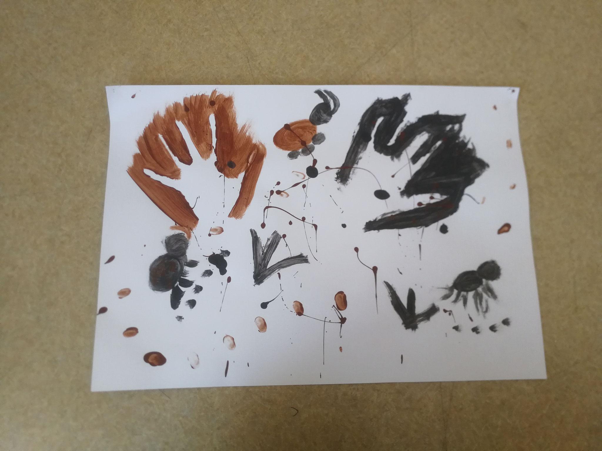 Peinture rupestre - peinture à l'eau (Primaires)