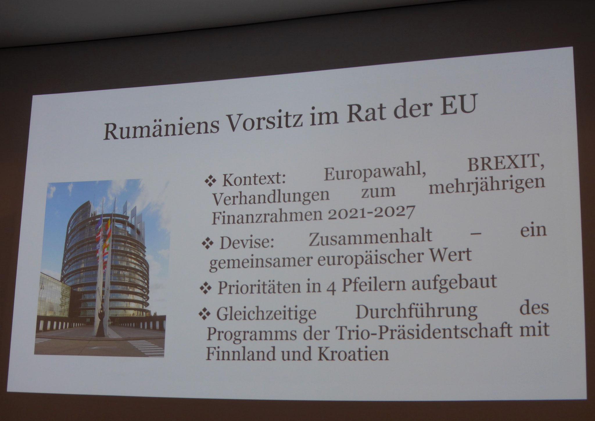 Ziele der rumänischen Ratspräsidentschaft