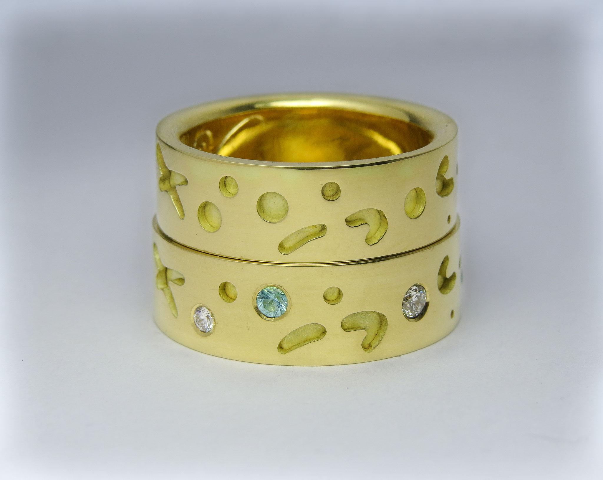 14kt goud met Diamant en Toermalijn