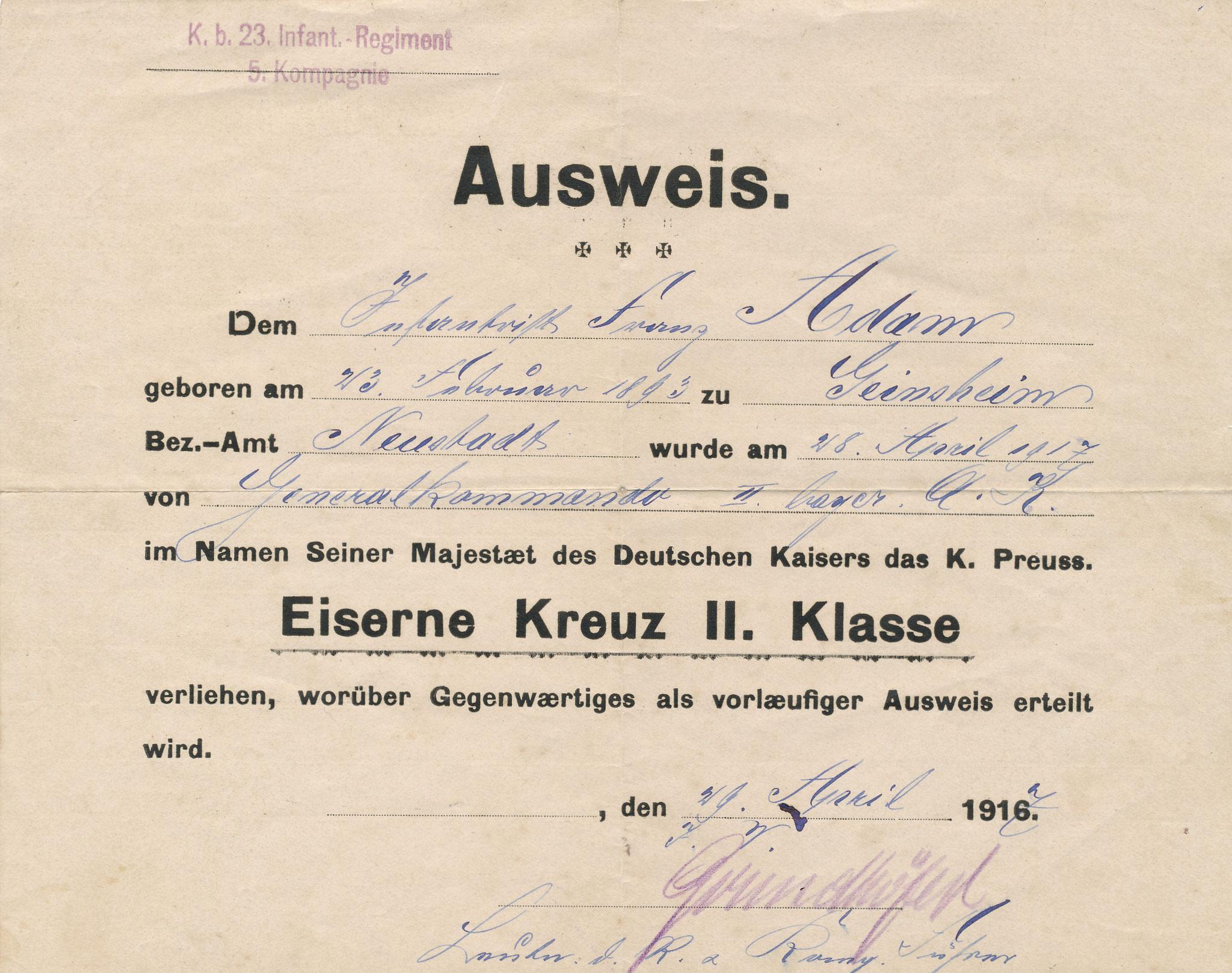 Franz Adam: Eisernes Kreuz II. Klasse
