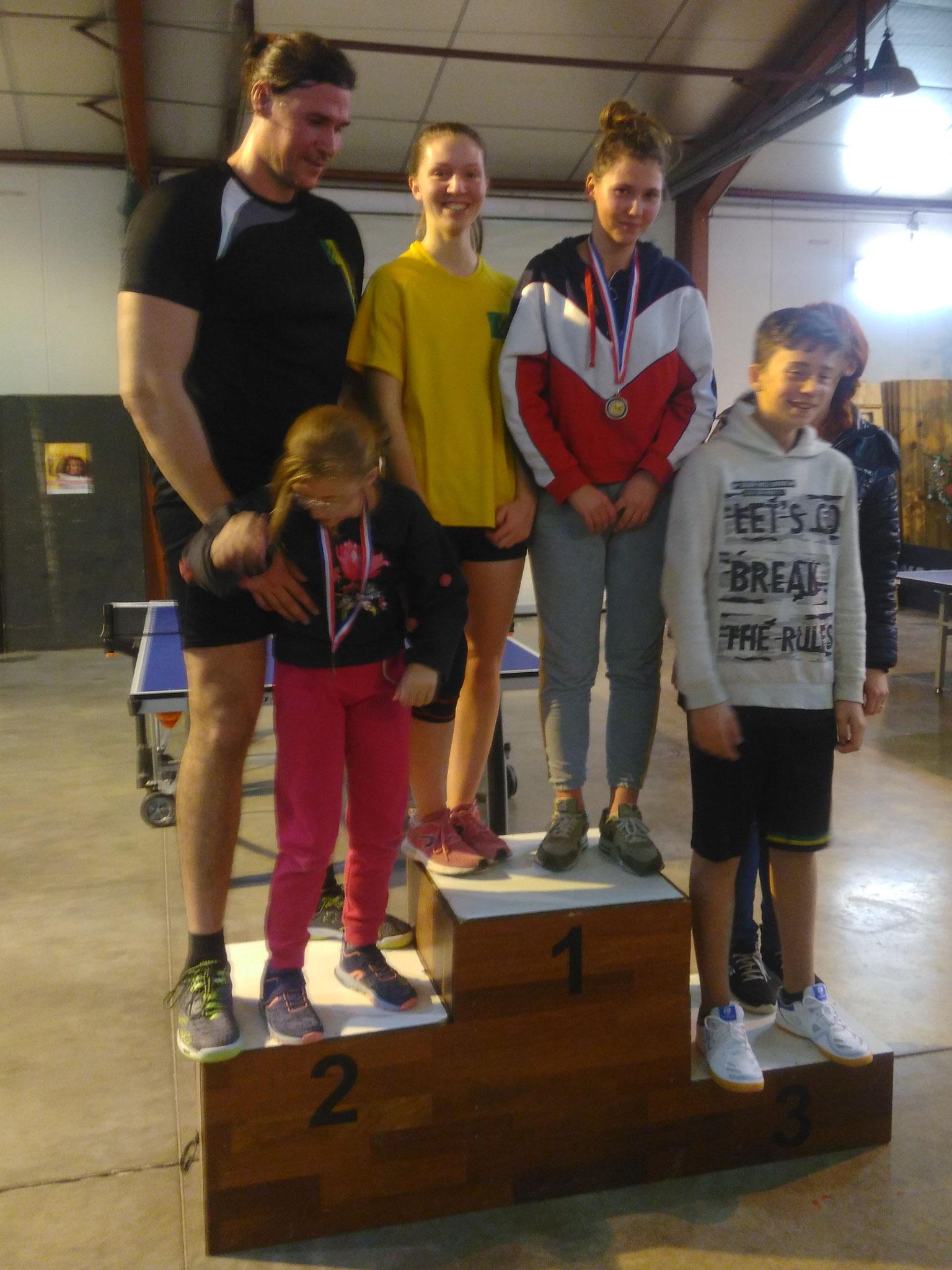 Podium du tournoi par équipes: 1ères Ilona et Madeline; 2èmes Olivia et Olivier; 3èmes Alexandre et Milena