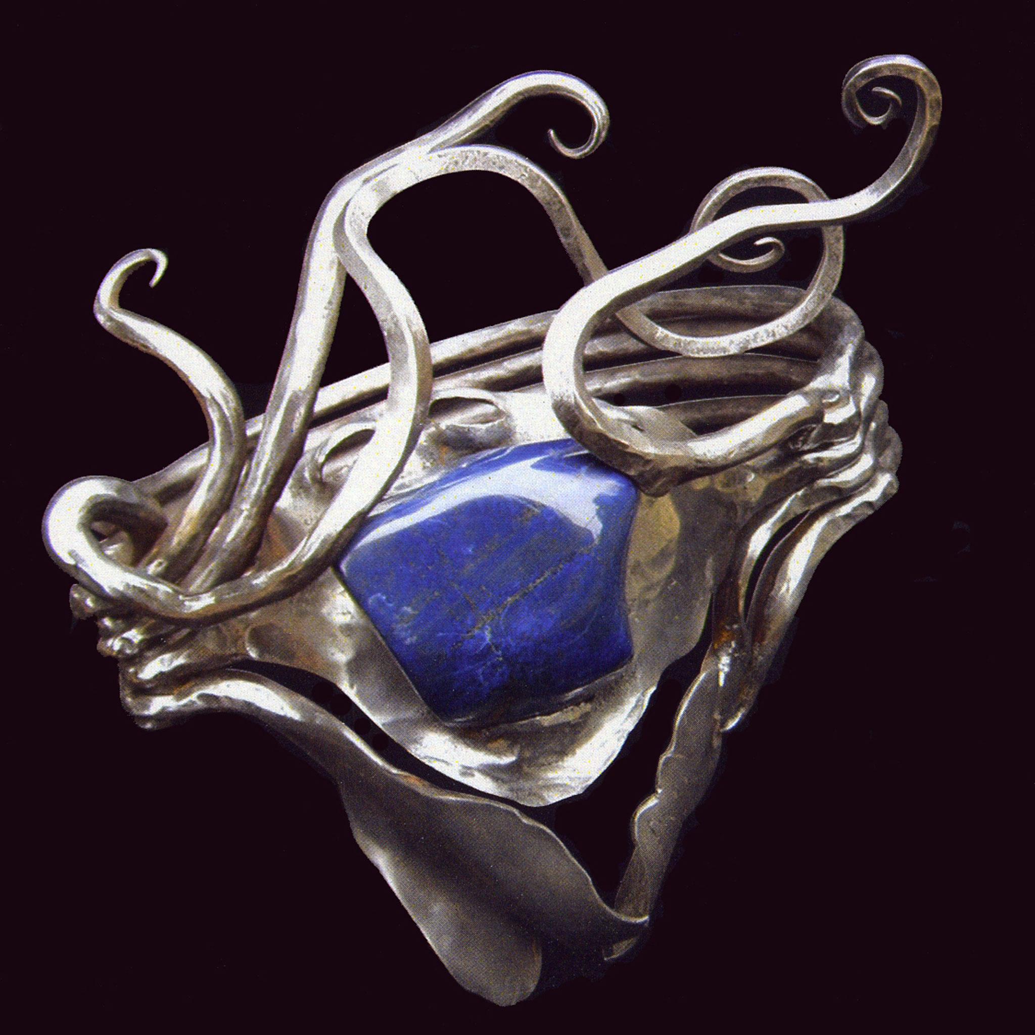 """""""Bague 41"""" - Fer pur, Lapis-Lazuli, Acier feuilleté - 34 x 29 cm Arnaud Elisabeth"""