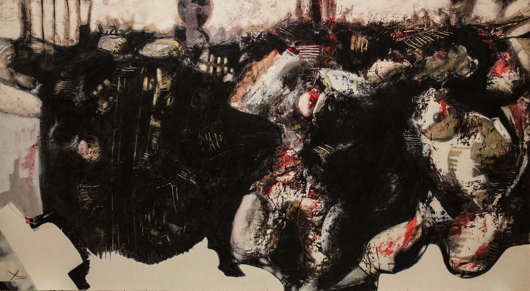 Farandole d'illusions - 2007 - 200 x110 cm - technique mixte sur panneau bois - JUANDEZ