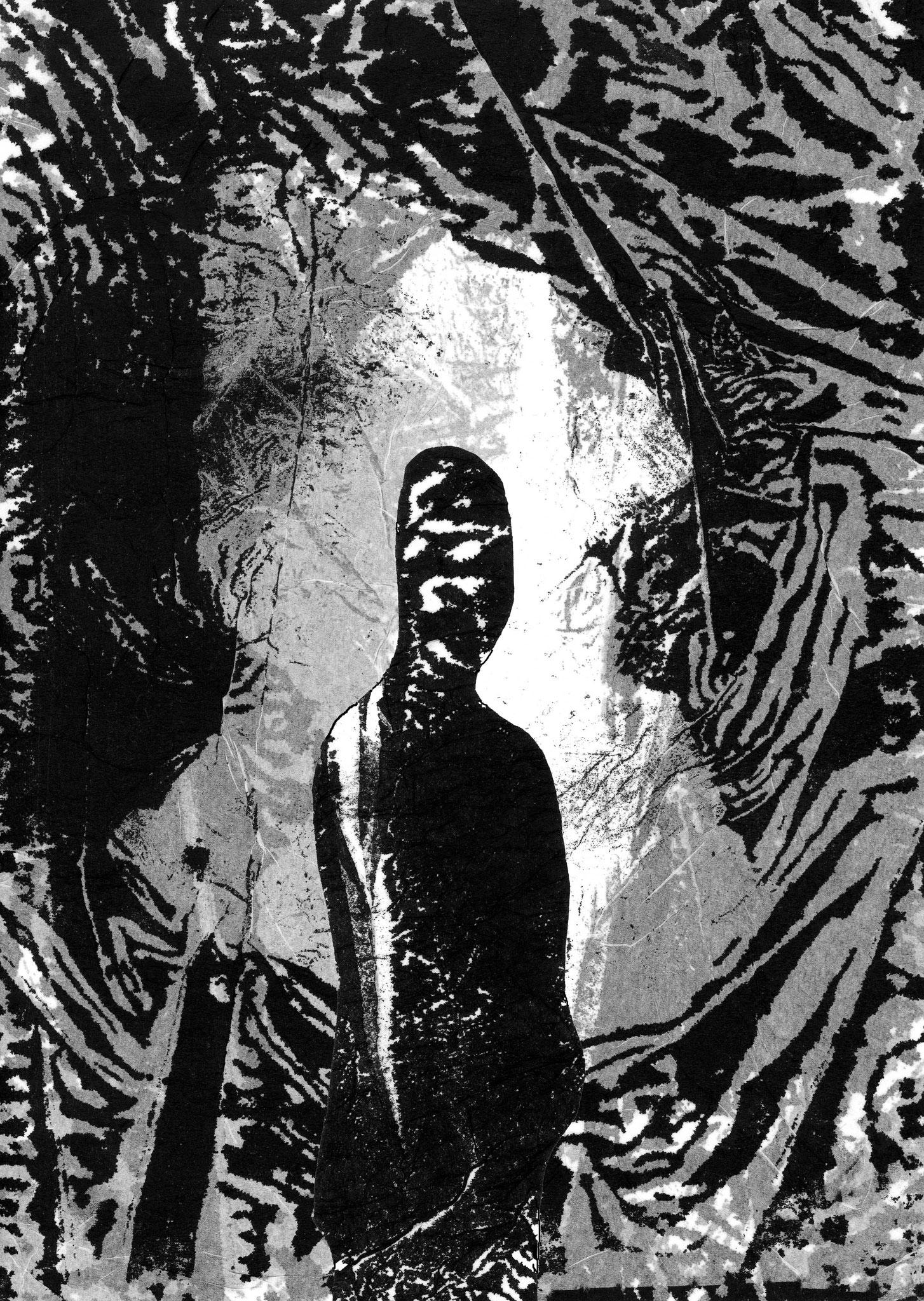 """""""Mise  en scène 1"""" - montage numérique sur papier mouchoir - 30x21cm"""