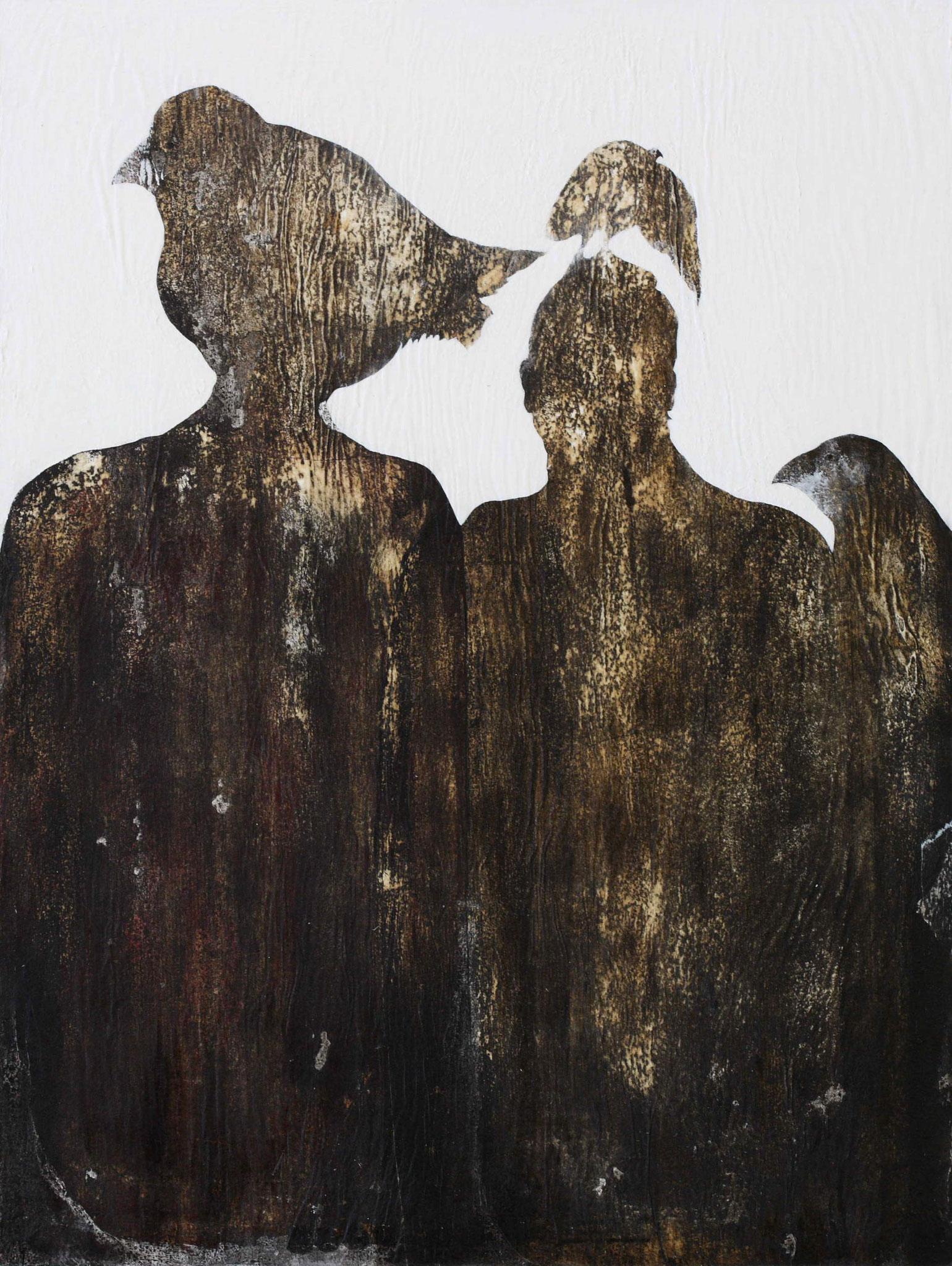 Migratoire - 2018 - encre et acrylique sur papier kraft marouflé sur bois hauteur 92 cm - largeur 73 cm - Oeuvre de Pascal Jacquet