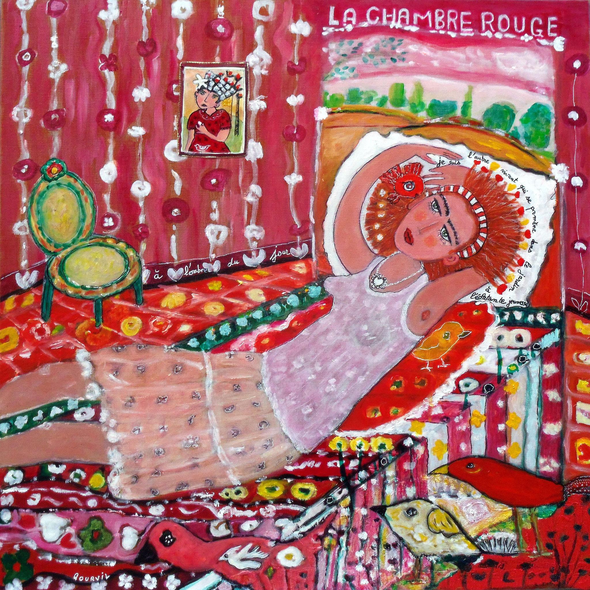 « La chambre rouge 2 », 70x70 cm, acrylique, pigments, encre, gravure sur papier et papier collés sur toile. Oeuvre de Geneviève Gourvil
