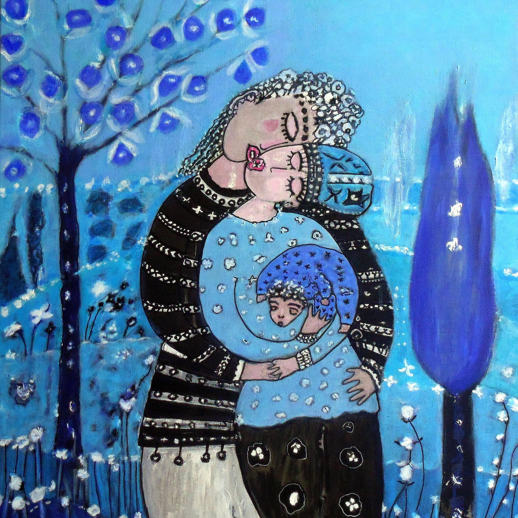 « Amours au secret de l'arbre 10 », 73x60 cm, encre, gesso, acrylique sur toile. Oeuvre de Geneviève Gourvil