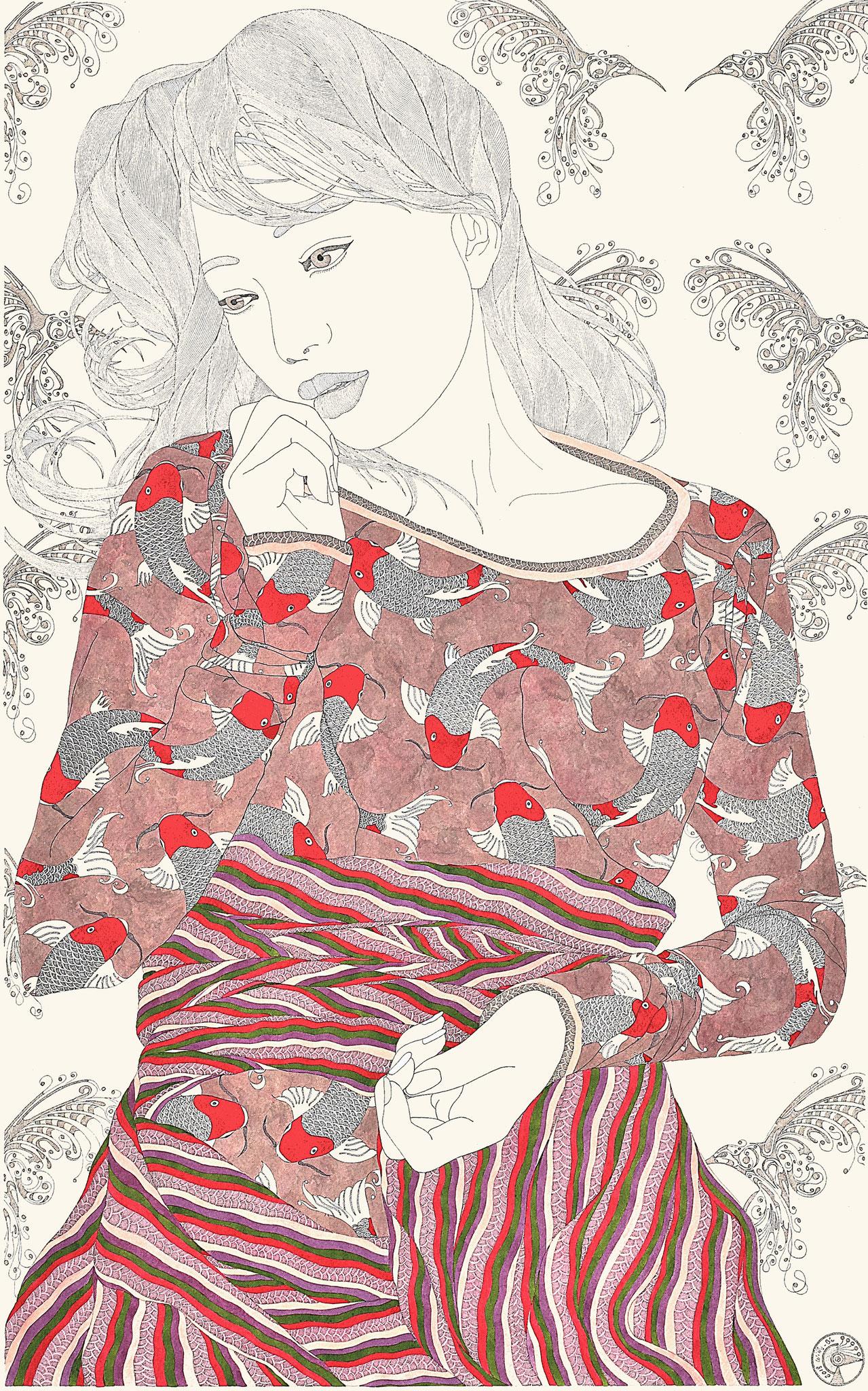 Jeune fille 1 - encre de chine et acrylique - 60 x 80 cm