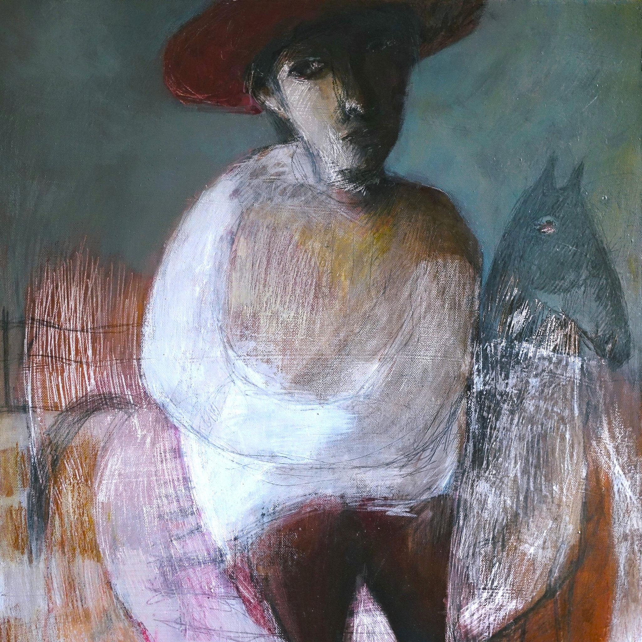 """""""O louco dos campos"""" huile sur toile 46X55cm de 2017. Anne Patay"""