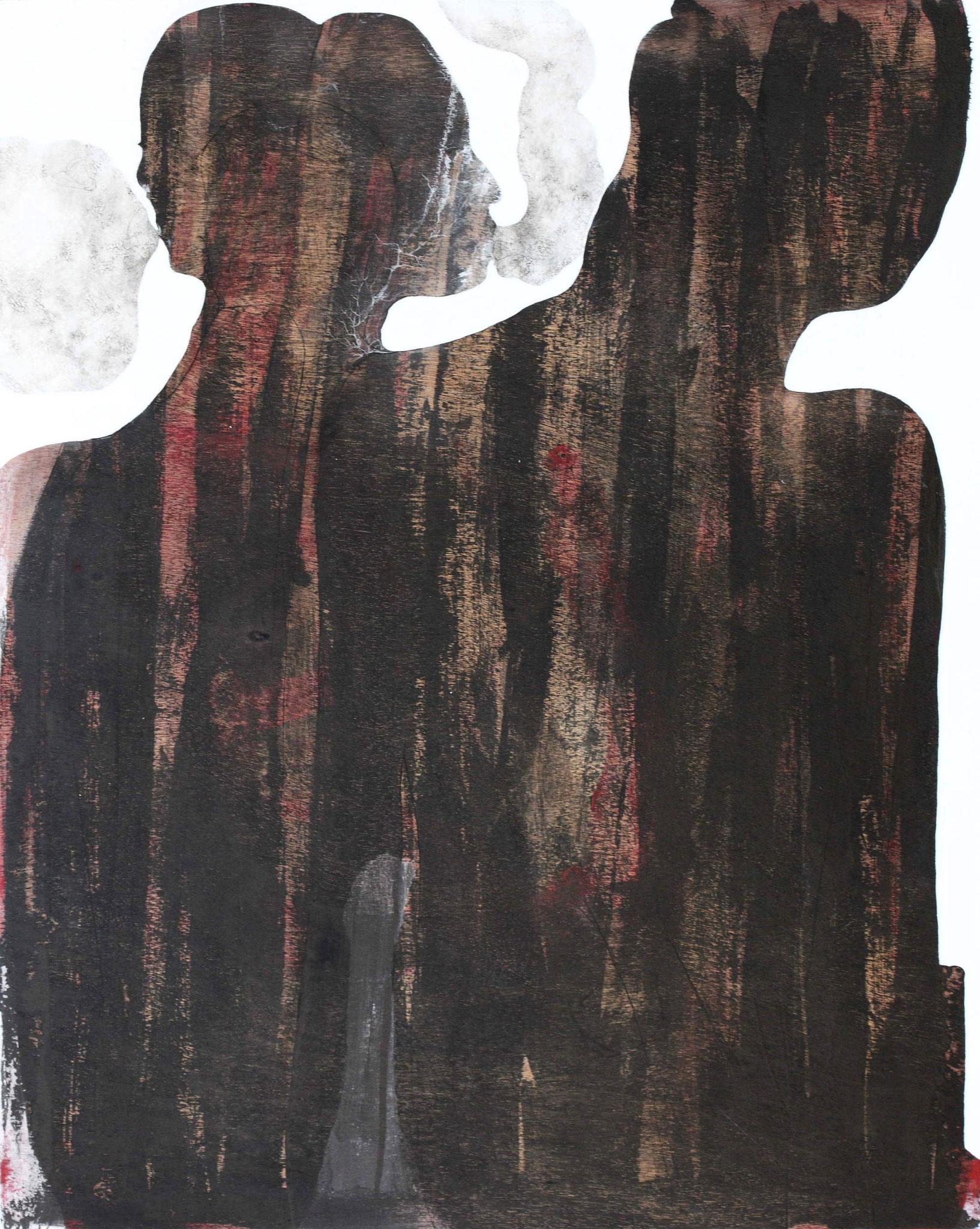 Nuées - 2018 - encre et acrylique sur bois hauteur 100 cm - largeur 80 cm - Oeuvre de Pascal Jacquet