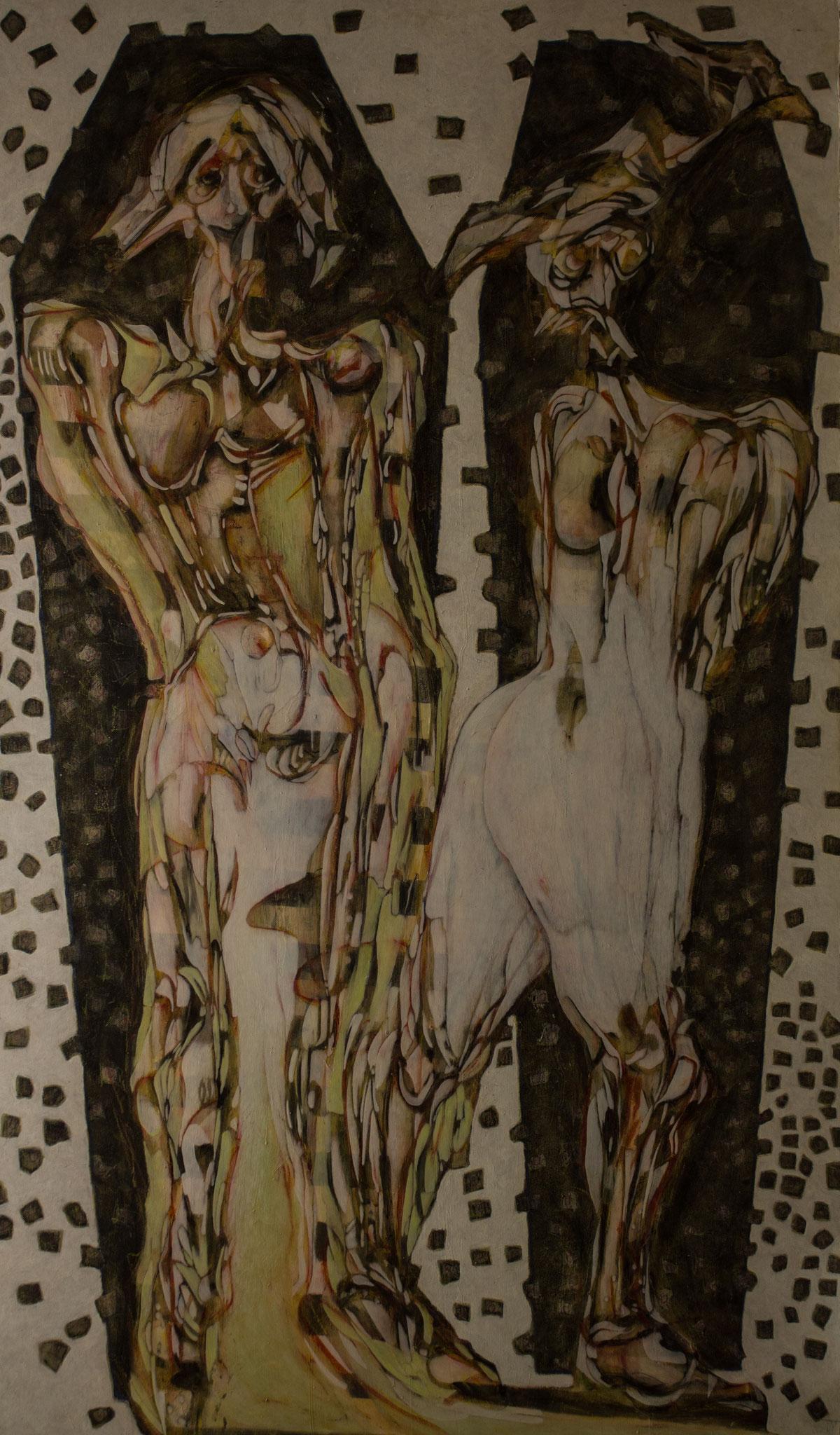 Verte Ambroisie - 2009 - 207 x 122 cm- technique mixte sur panneau bois - Juandez