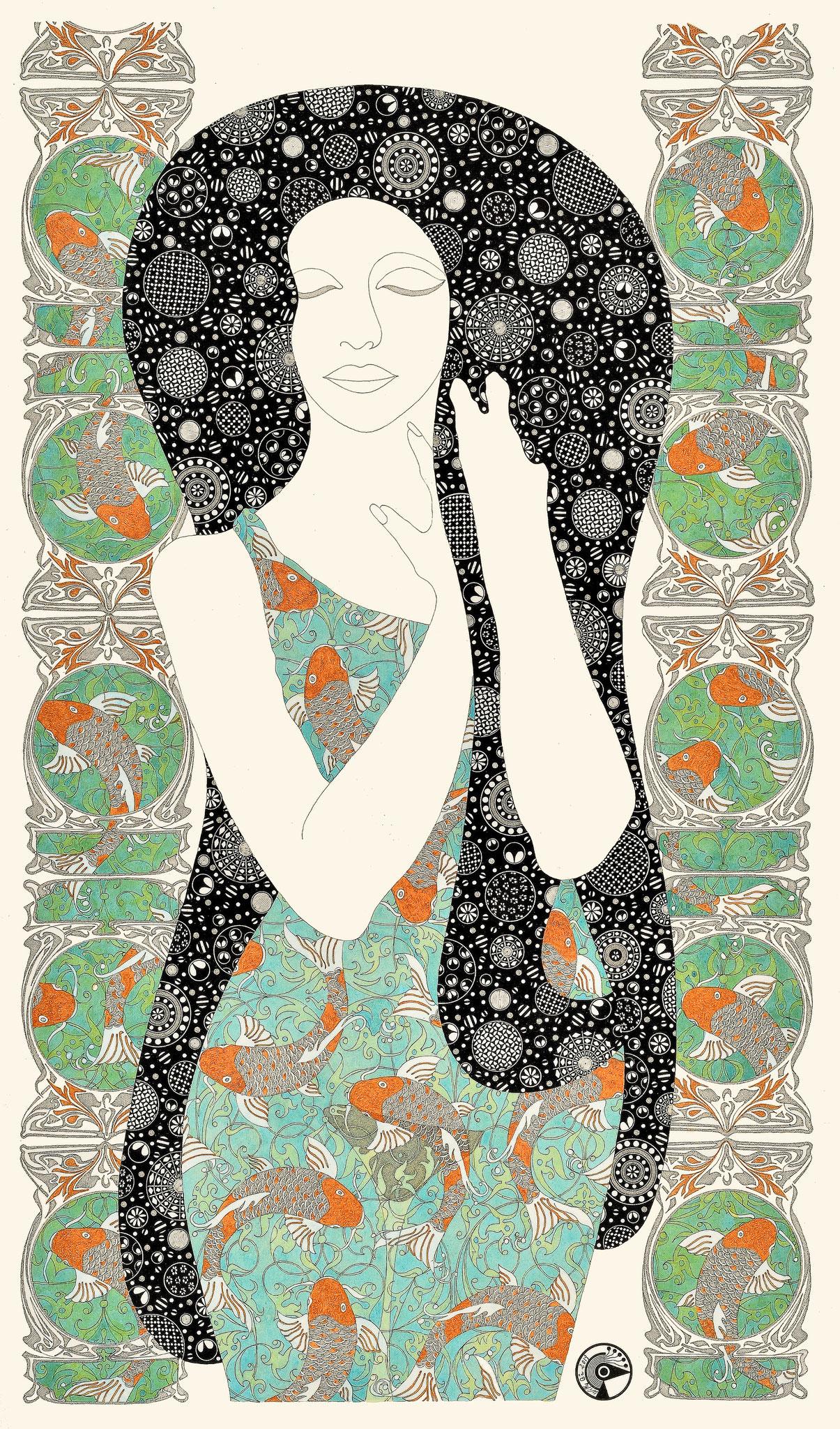Hommage à Klimt n° 10 - encre de chine et acrylique - 60 x 80 cm