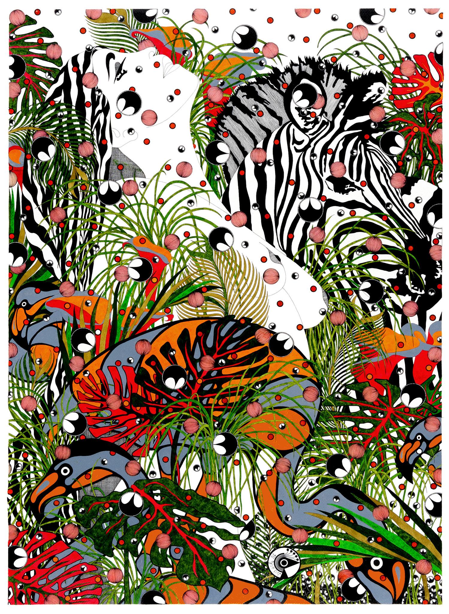 Dans la jungle - encre de chine et acrylique - 60 x 80 cm - oeuvre de Willy Bâ