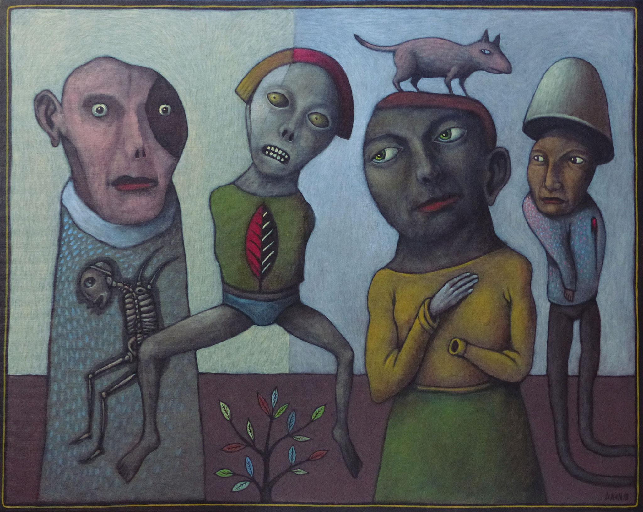 4+1 - oeuvre de Bernard LENEN - acrylique sur toile - Dimensions : 73 x 92 cm. 2018