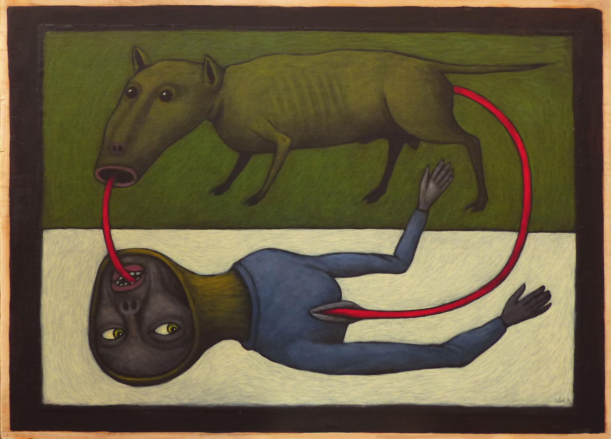 De l'un à l'autre - oeuvre de Bernard LENEN - acrylique sur toile - 2018.