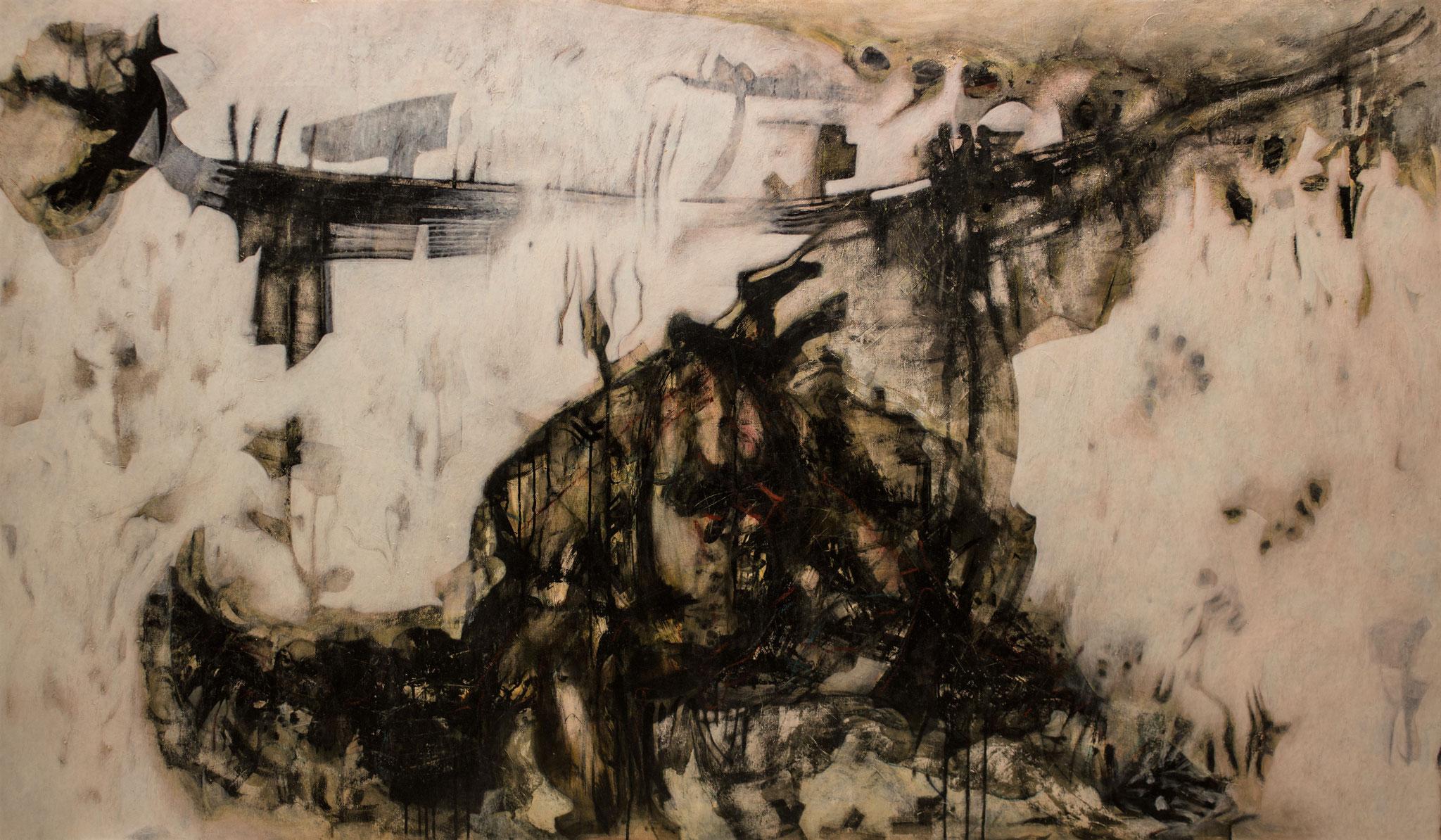 Modeste soirée - 2013 - 207 x 122 cm - technique mixte sur panneau bois - Juandez