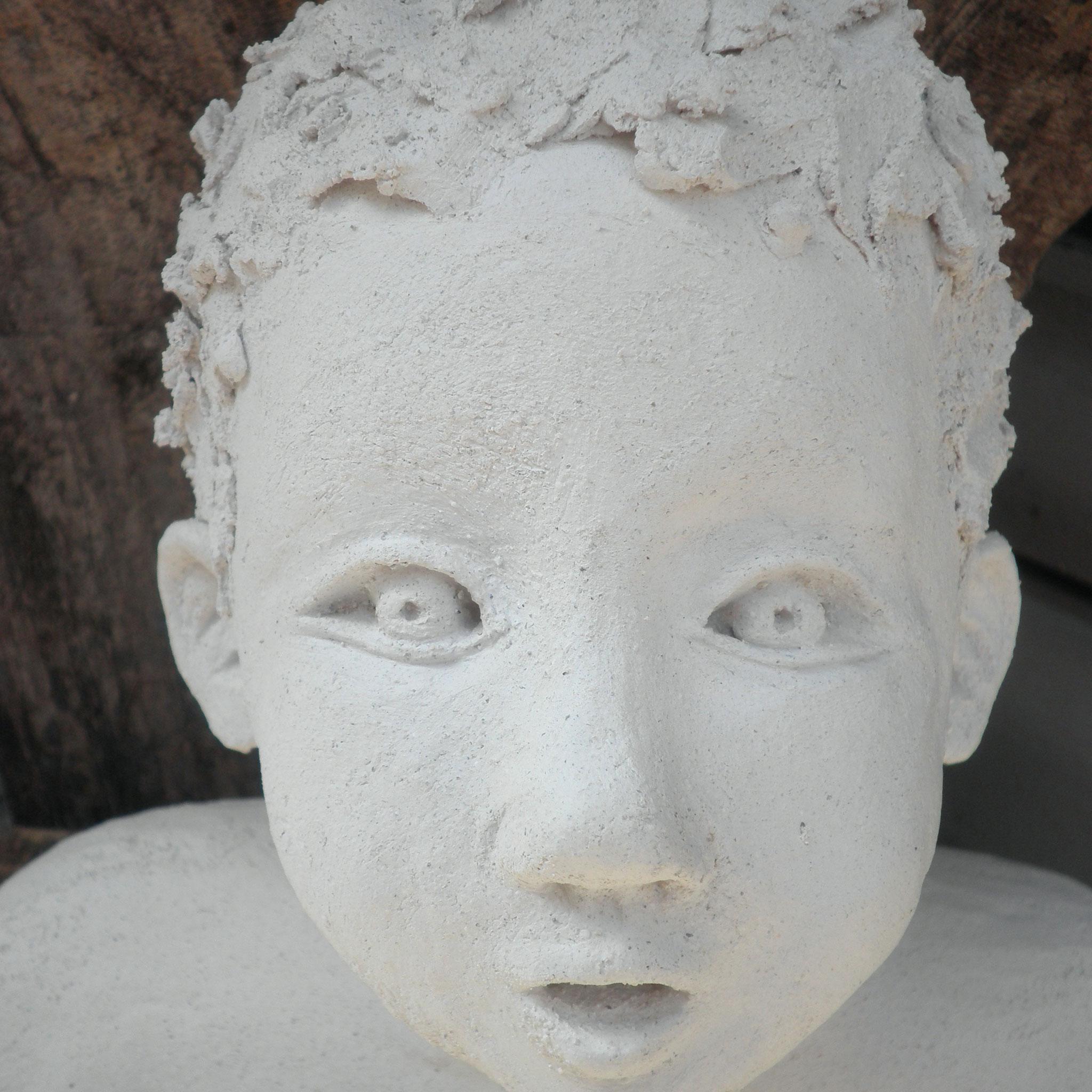 Etonnement grès blanc, 19 cm. Sculpture Claudette Briand
