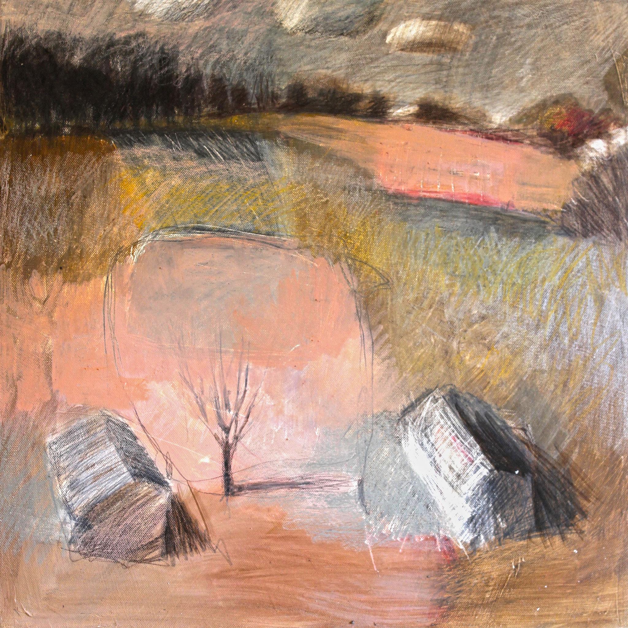 """""""Landscape 5"""" huile sur toile 50x50cm, 2017. Anne Patay"""