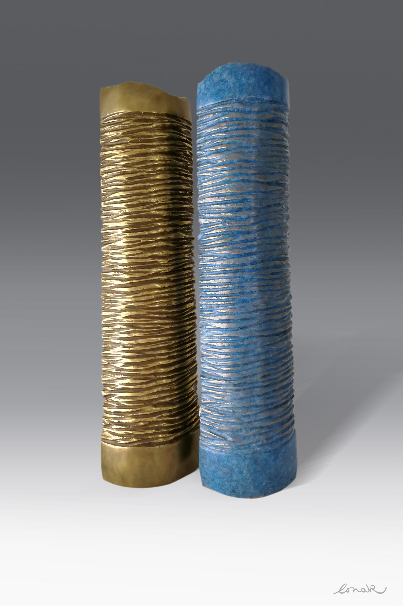 """Totem"" - bronze - 10x6x39cm (2 pieces)"