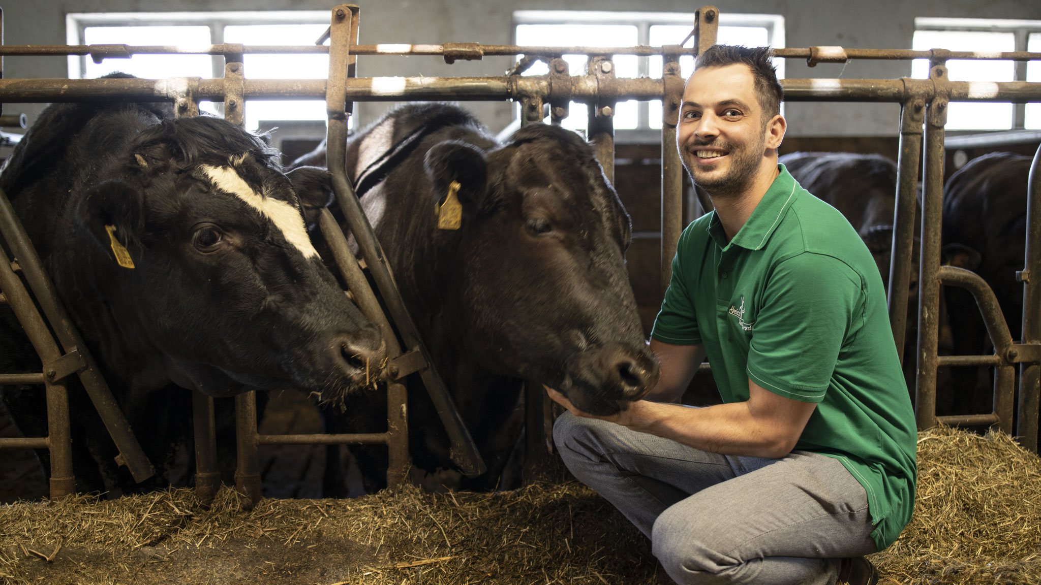 Tobias Abele liebkost seine Rinder regelmäßig. Foto: ©Alexander Stuhler