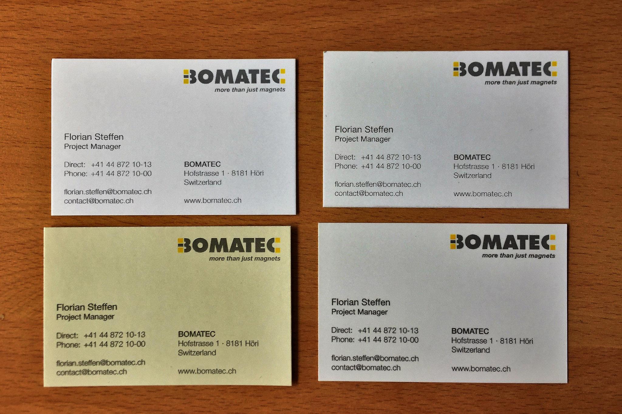 Geschäftsdrucksachen für Bomatec AG, Höri