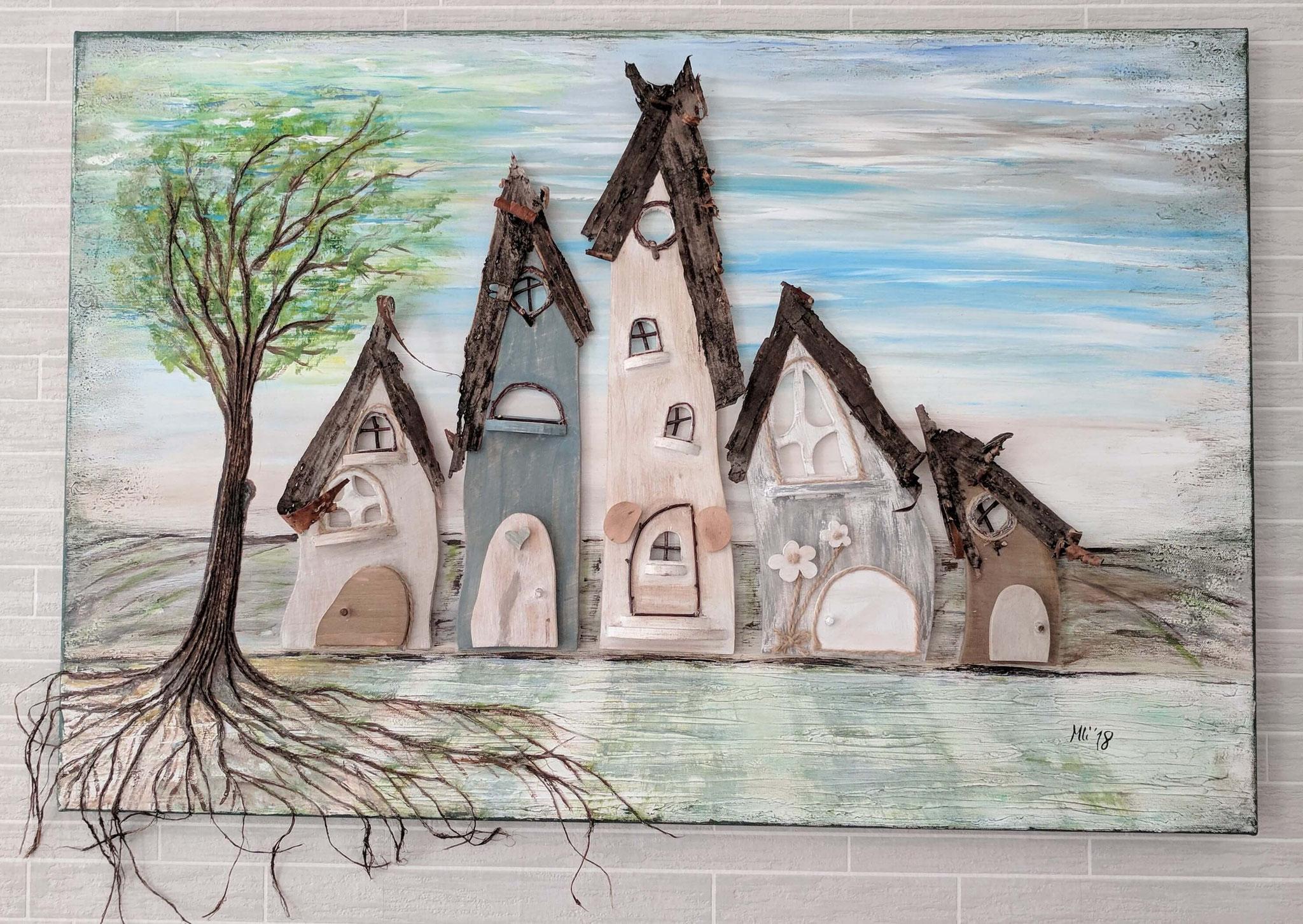 """Kunst am Haus Vol. 1"" Acryl, Holz  Collage auf Leinwand 60 x 90 cm"