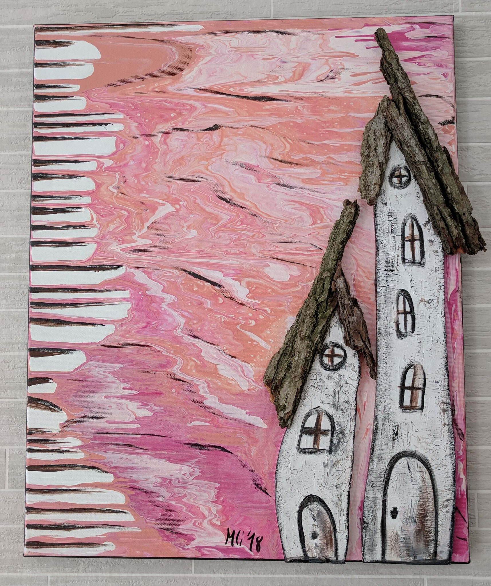 """Kunst am Haus Vol. 3"" Acryl, Holz  Collage auf Leinwand 50 x 40 cm"