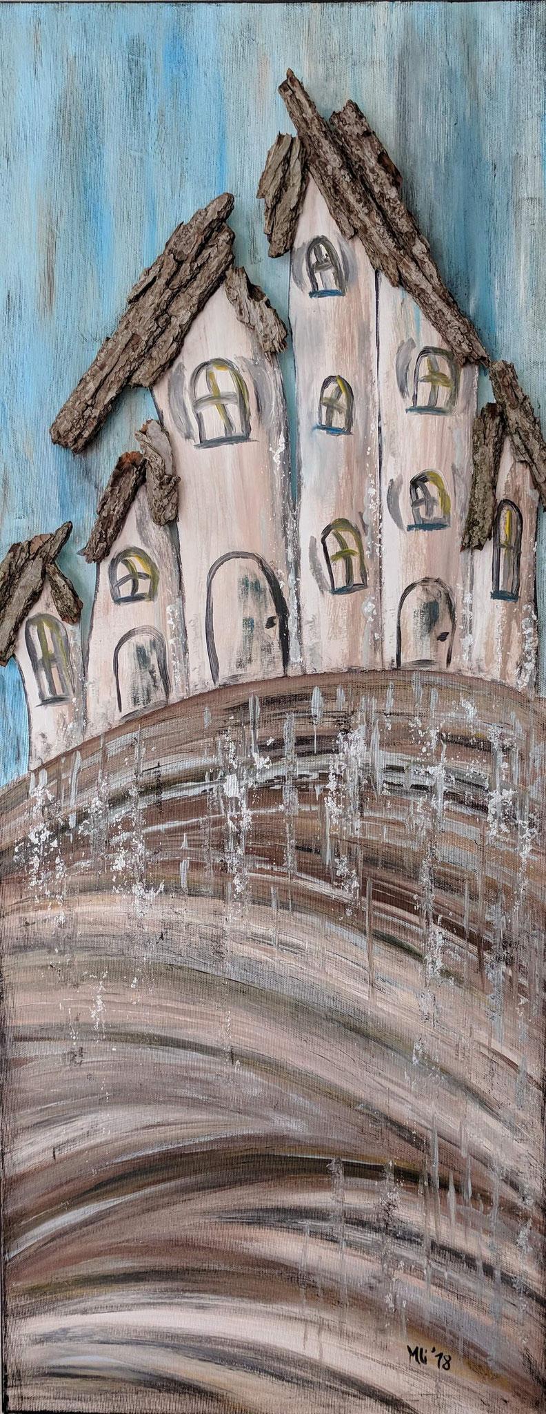 """Kunst am Haus Vol. 4"" Acryl, Holz Collage auf Leinwand 100 x 40 cm"