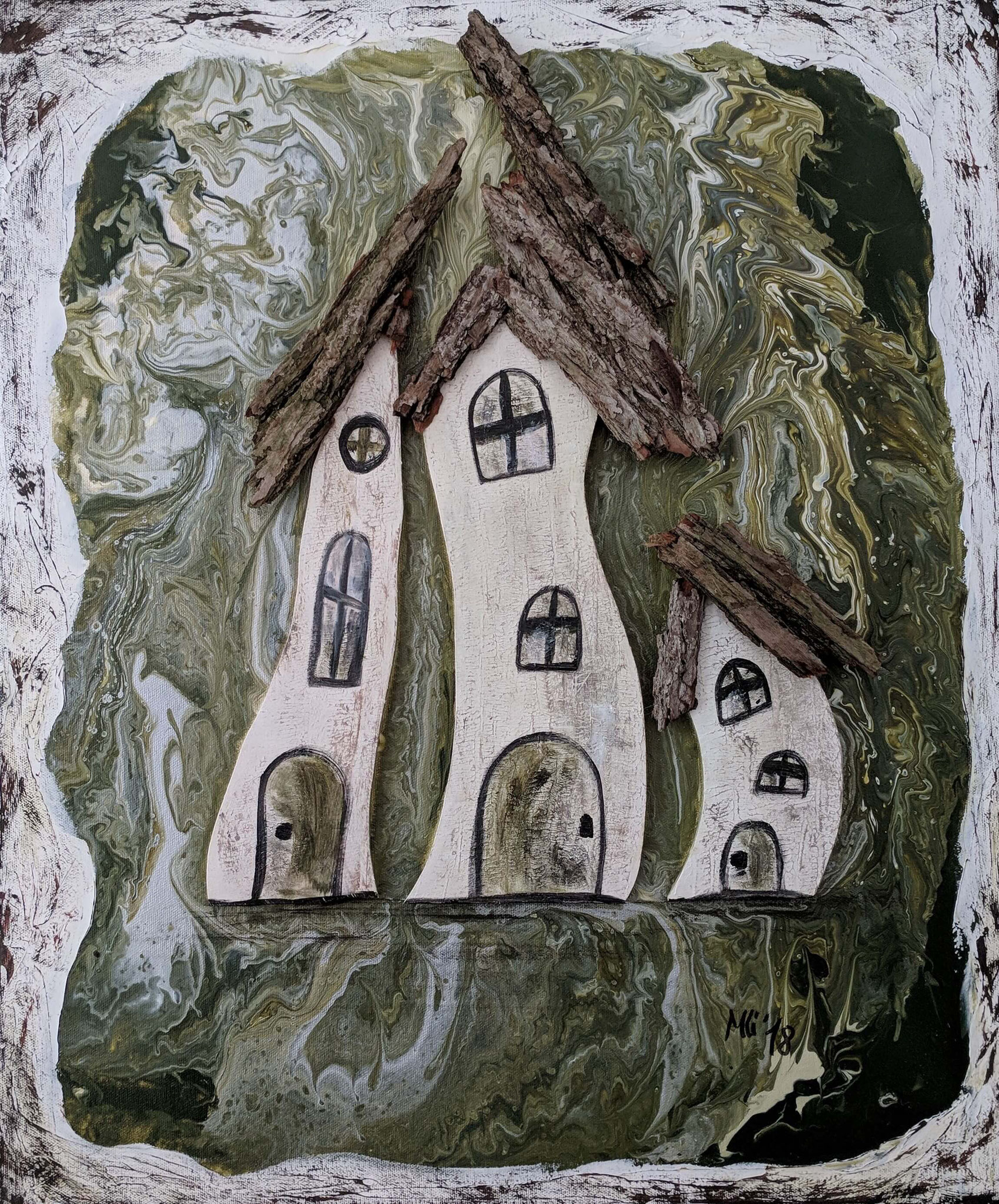 """Kunst am Haus Vol. 2"" Acryl, Holz Collage auf Leinwand 60 x 50 cm"
