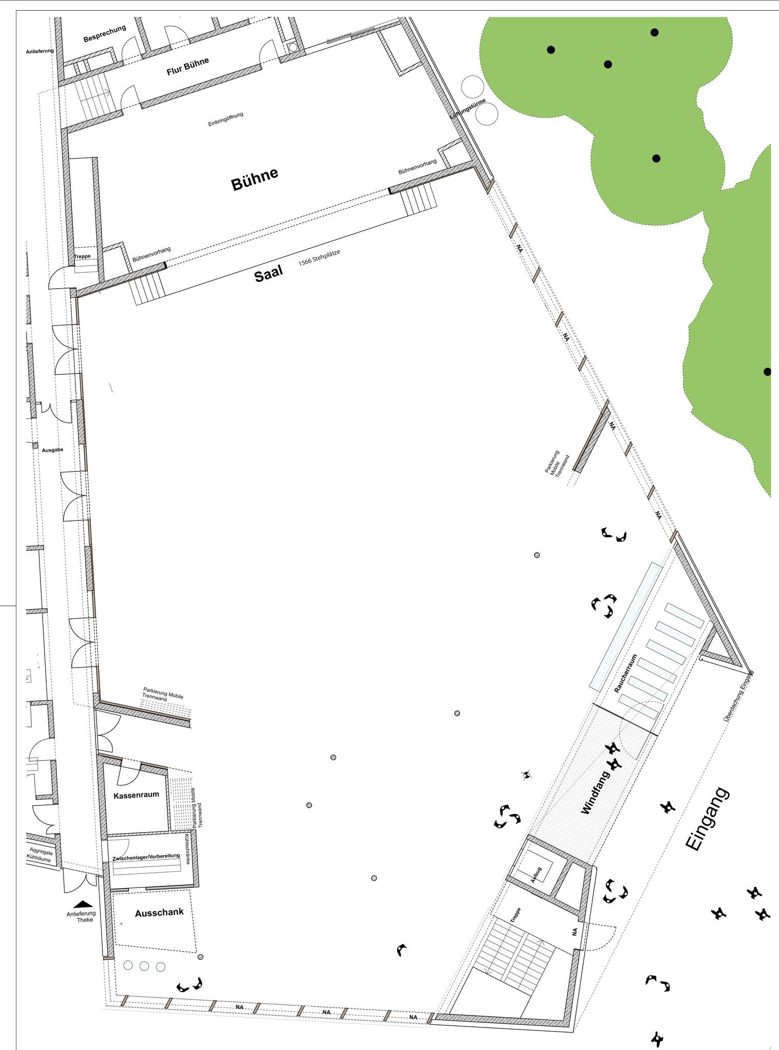 Bei geöffneten mobilen Trennwänden stehen 1566 Stehplätze zur Verfügung