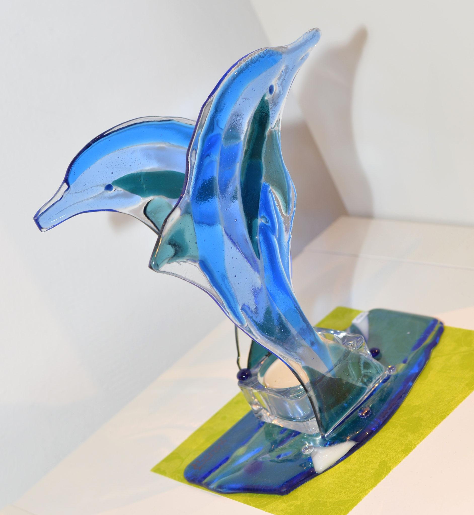 Delphin-Skulptur in Glasfusion-Technik von Martin Suritsch