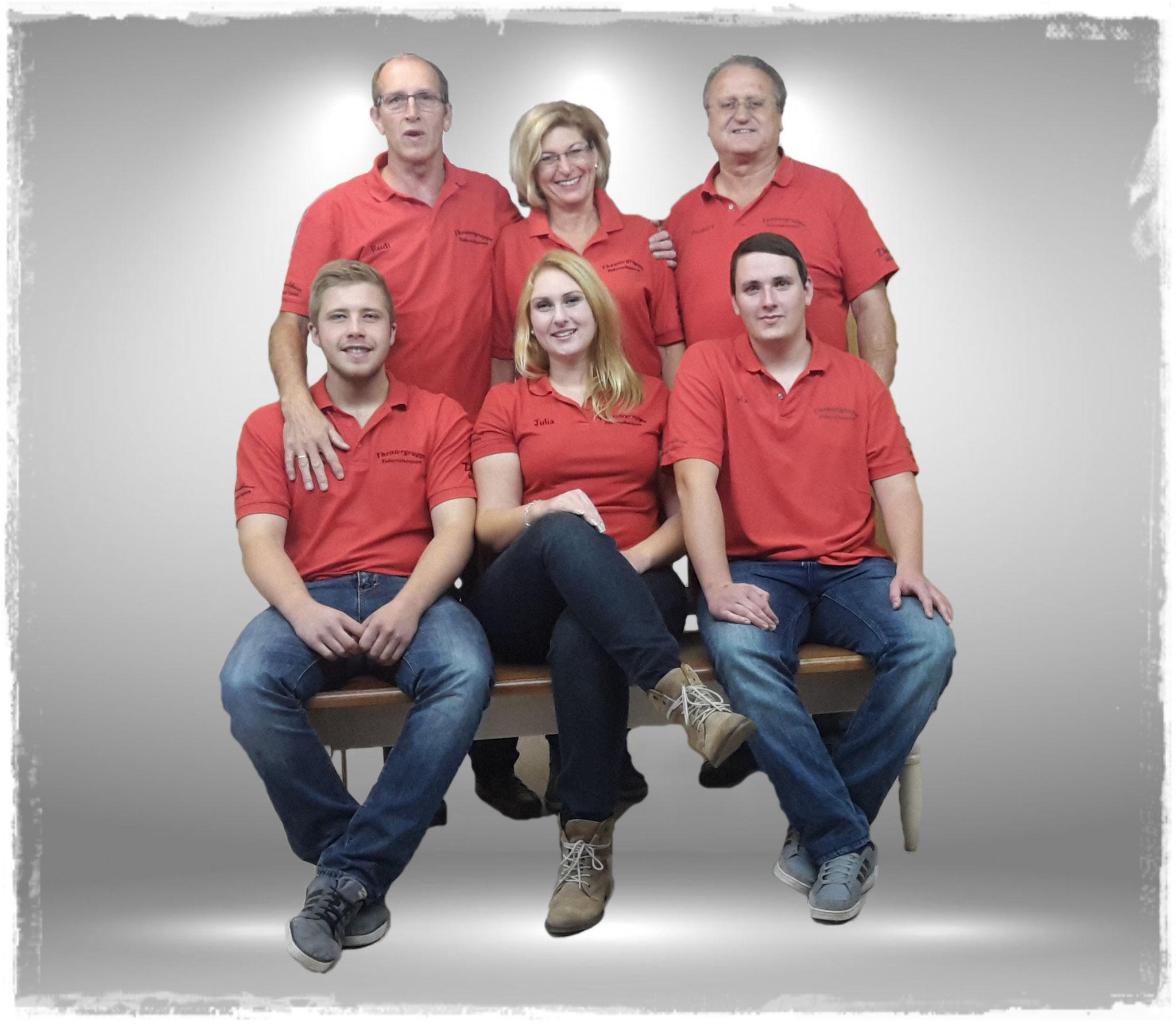 Vorne: Hansi Stoiber, Julia Fleischmann, Manuel Weber. Hinten: Rudi Köck, Lilly Seis, Herbert Gerl