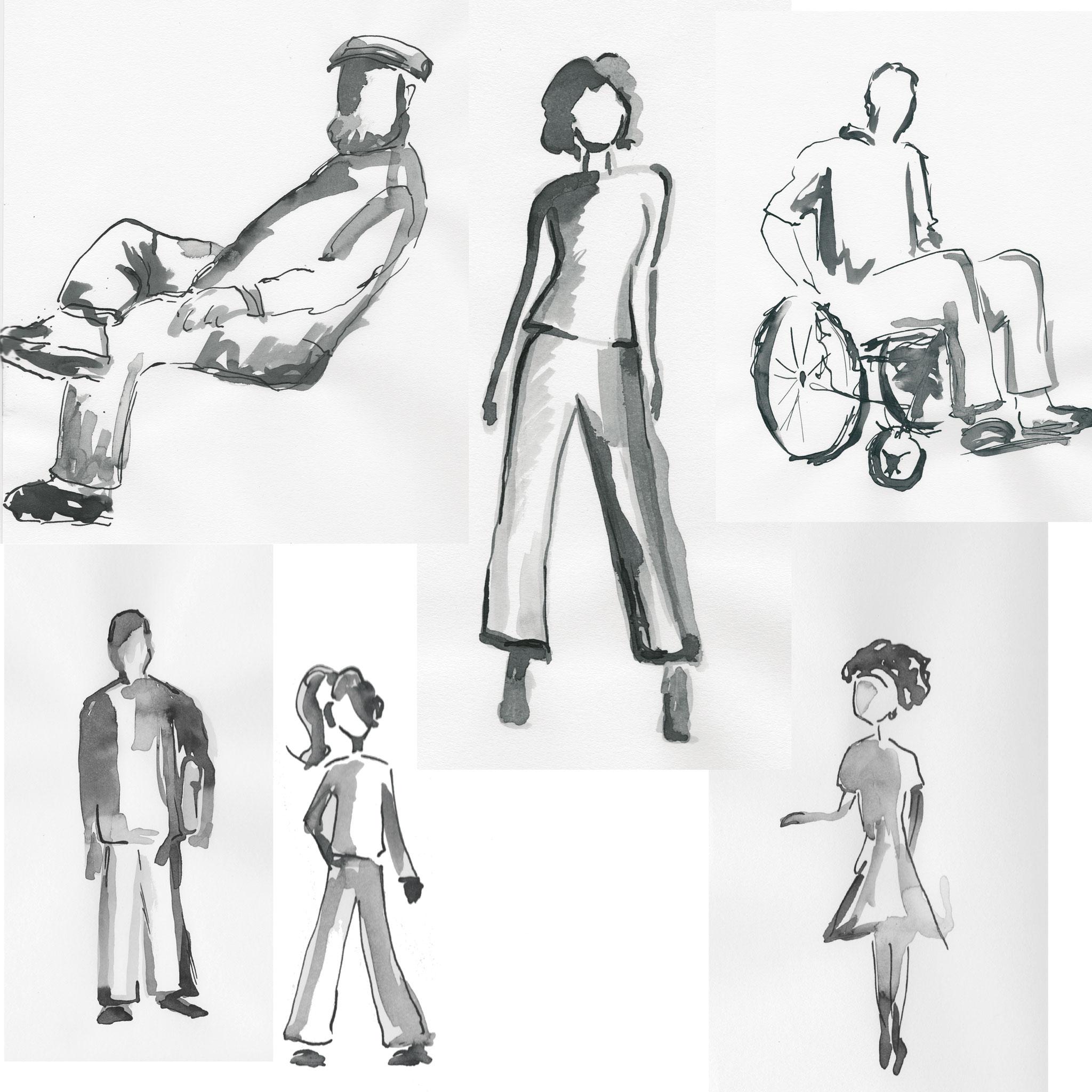 Skizzen zum Thema Diversity & Inclusion / Tusche / Beipsiellayouts für Pleon