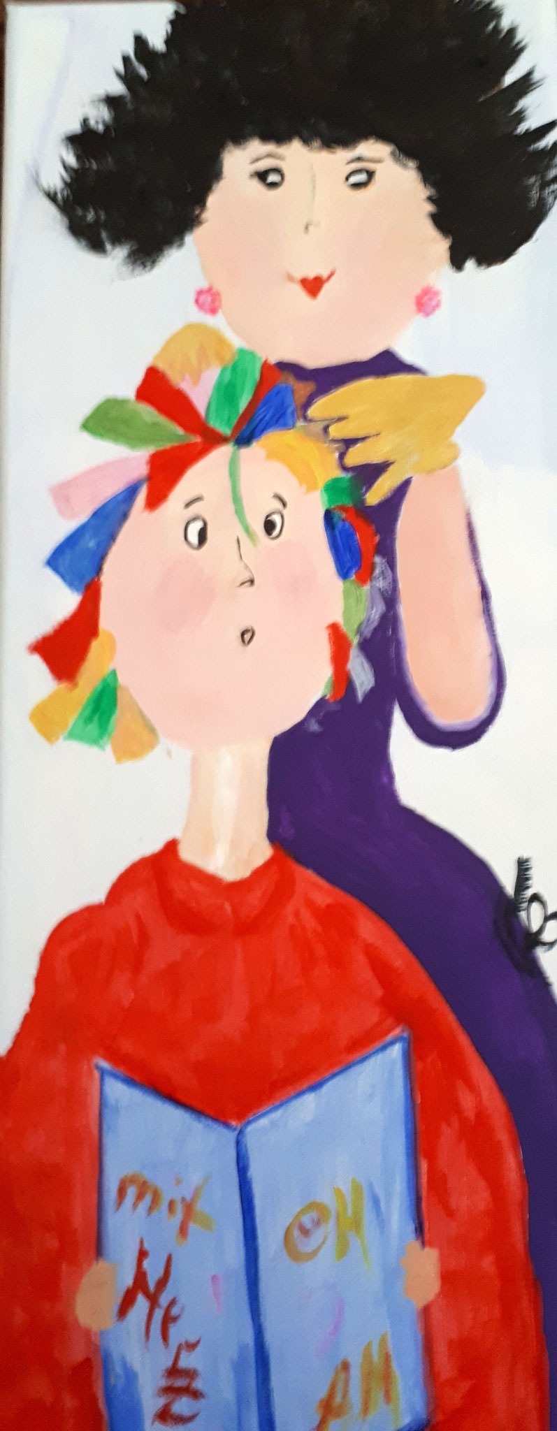 Endlich zum Friseur, 20 cm x 50 cm, Acryl auf Leinwand