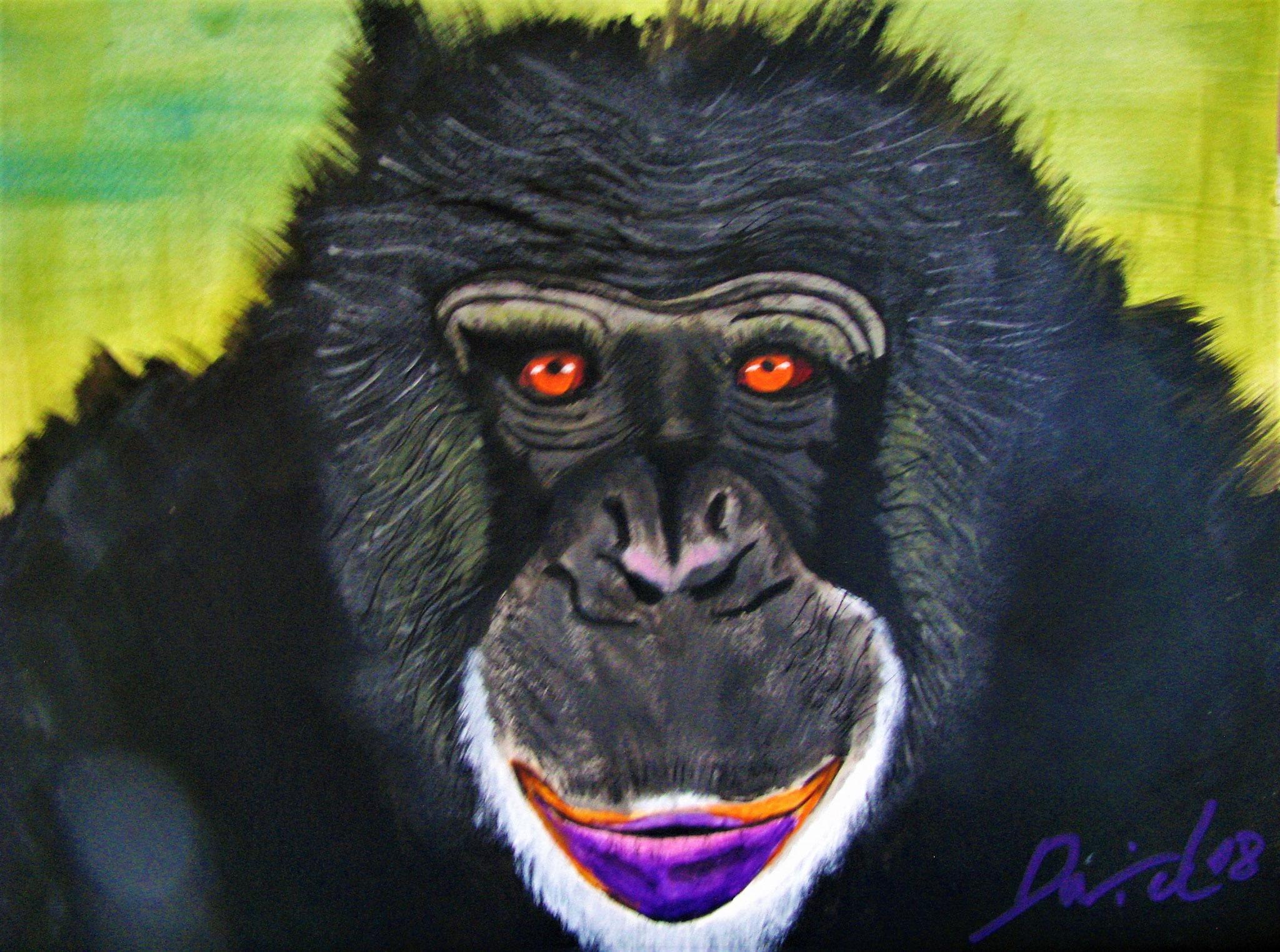 Affe, 30 cm x 40 cm, Acrylfarbe auf Papier