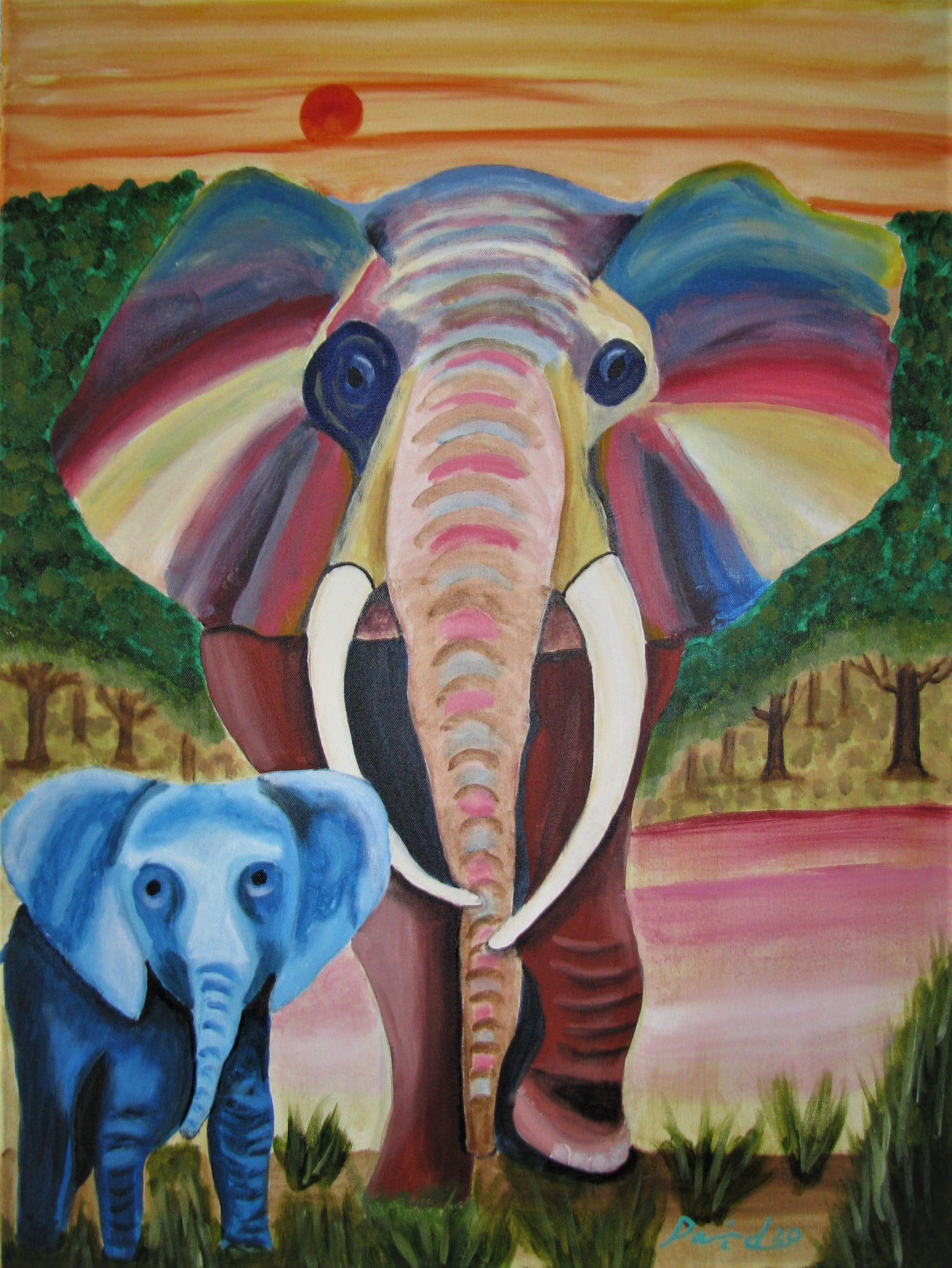 Elefanten, 60 cm x 80 cm, Acrylfarbe auf Leinwand