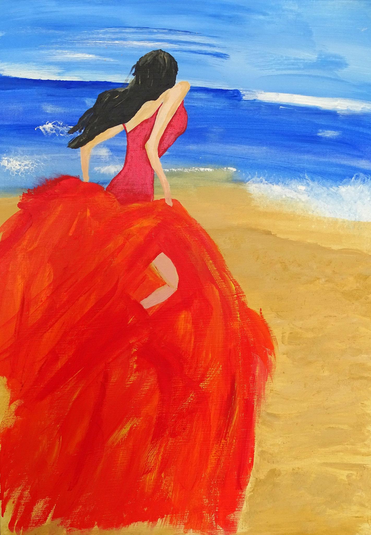 Frau am Strand, 50 cm x 70cm, Acryl auf Keilrahmen.