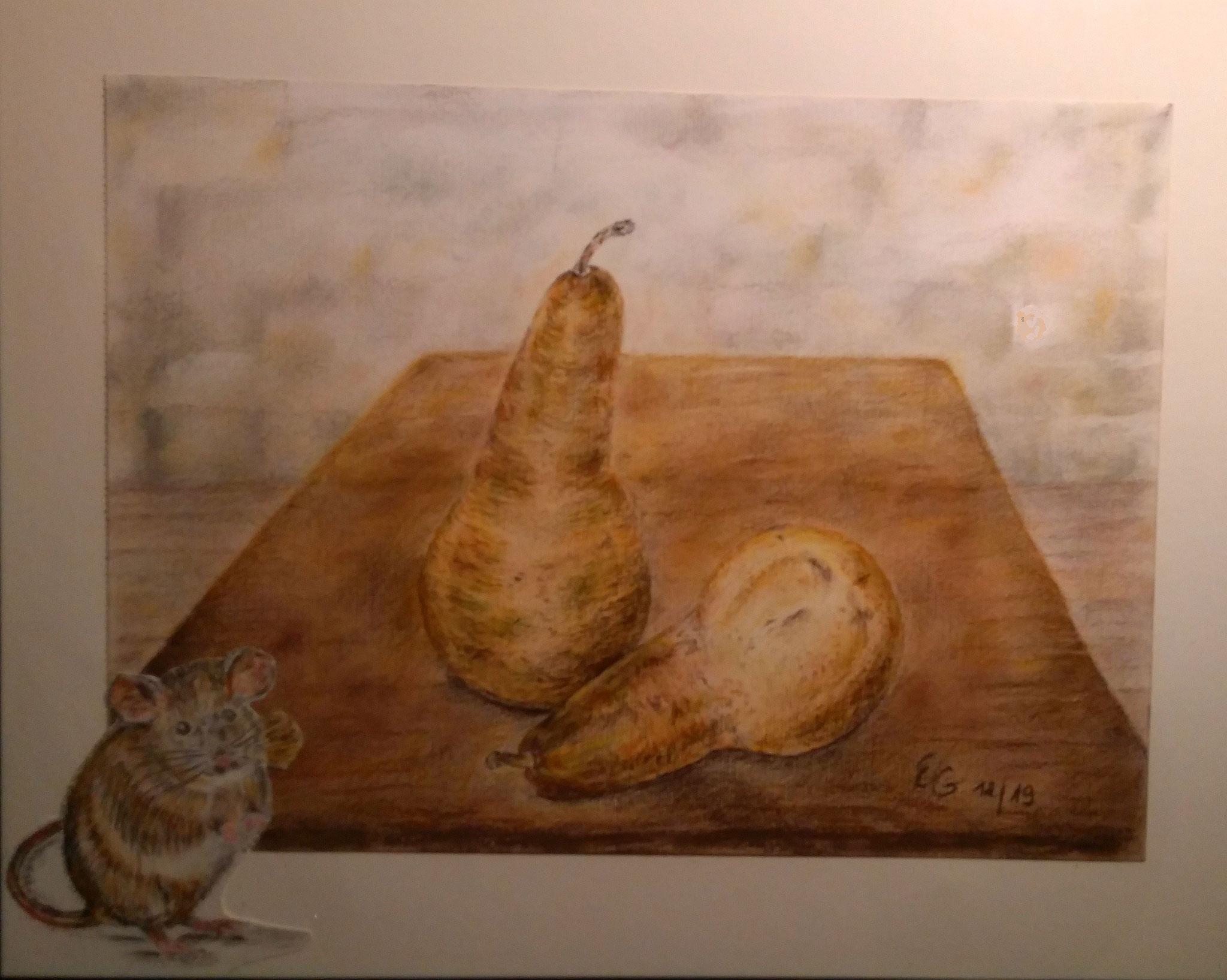 Vorfreude, mit Rahmen 40 cm x 50 cm, Farbstift und Pastellkreide auf Papier
