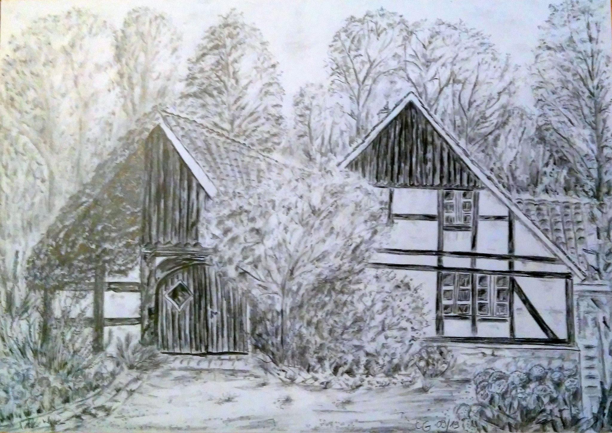 Alte Mühle, mit Rahmen 40 cm x 50 cm, Bleistift auf Papier