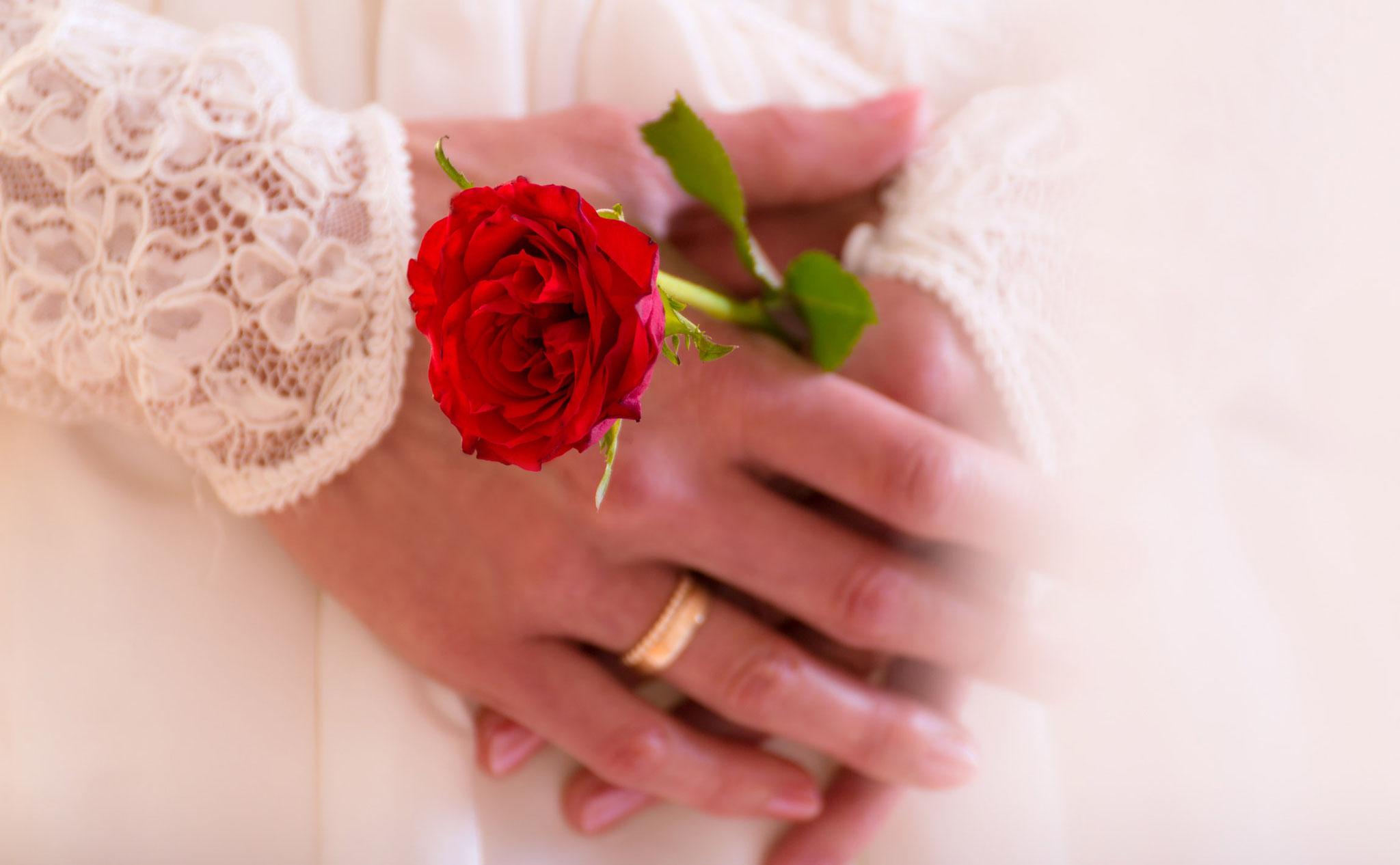 Hochzeitsmotiv Rose und Ring im Fotostudio in Erlangen