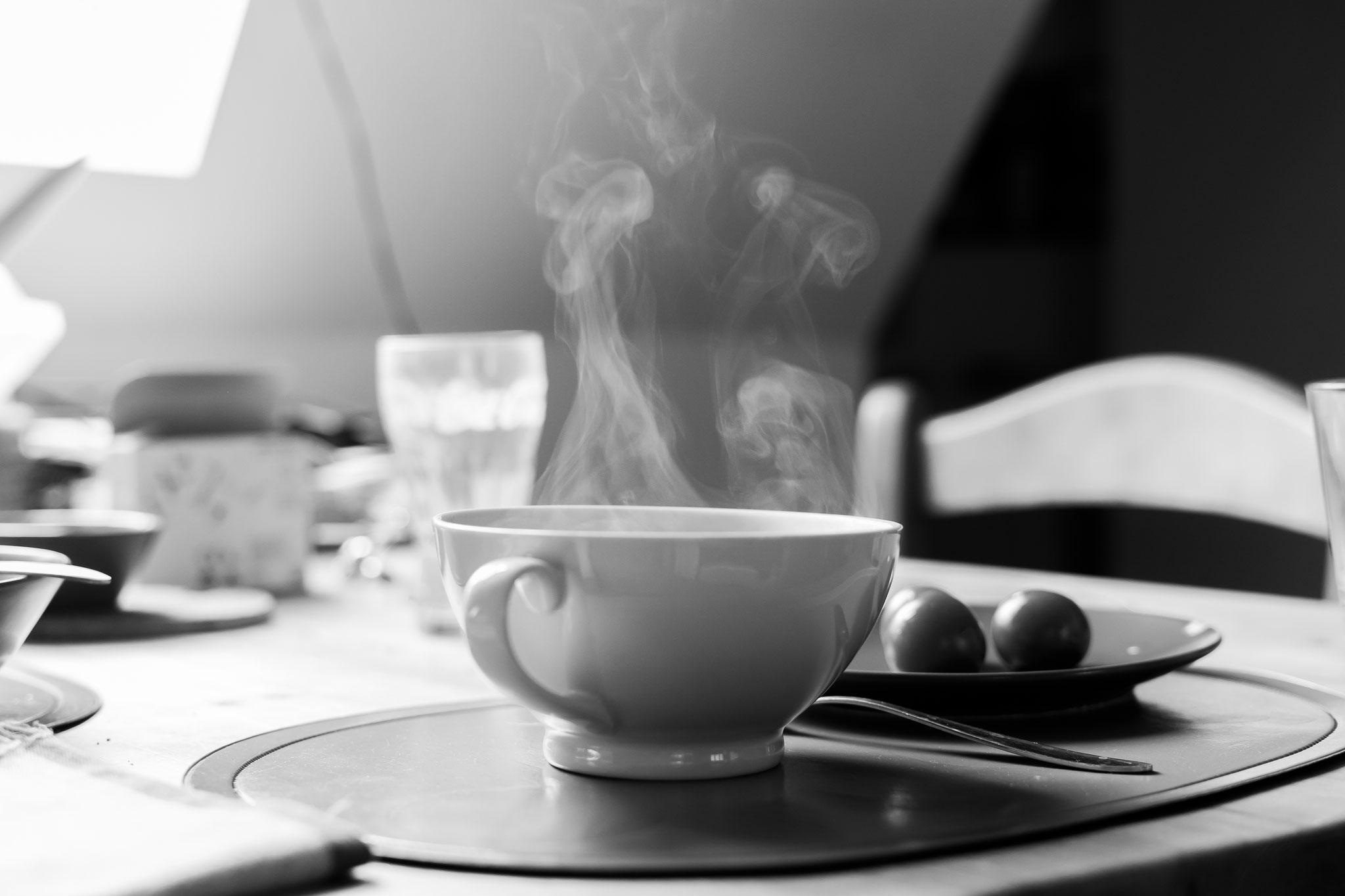 Le réconfort d'un bon bol de soupe fumante...