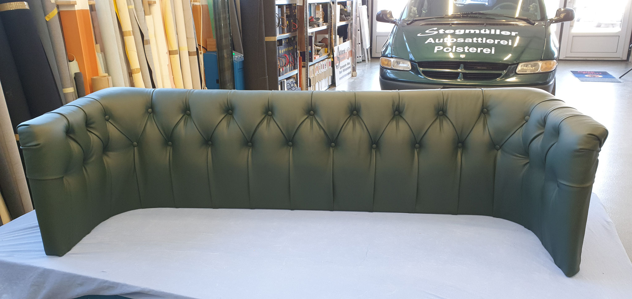 Sofa Rücken neu mit Leder Tapiniert