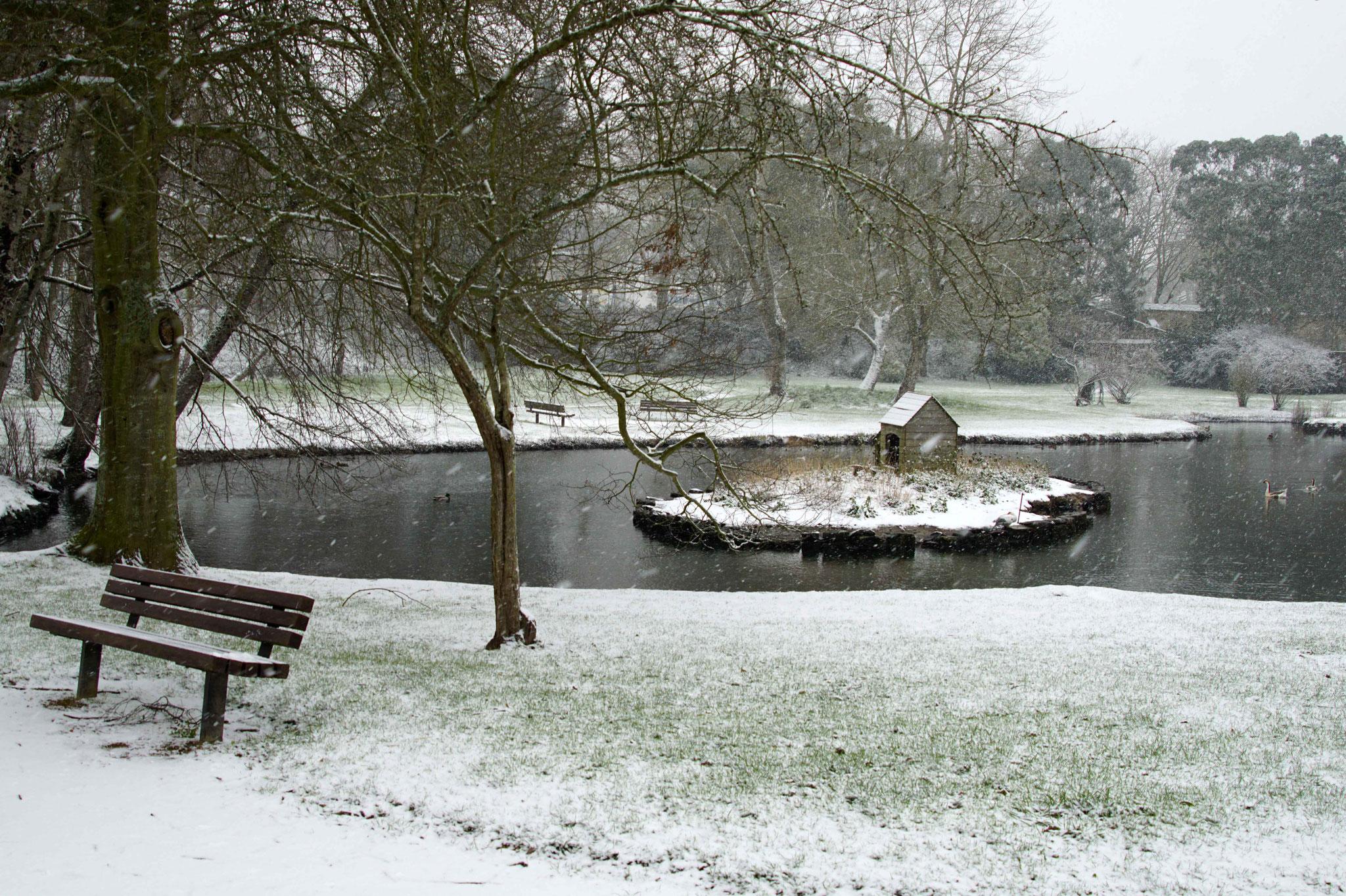 Etang et Parc Sainte Anne sous la Neige