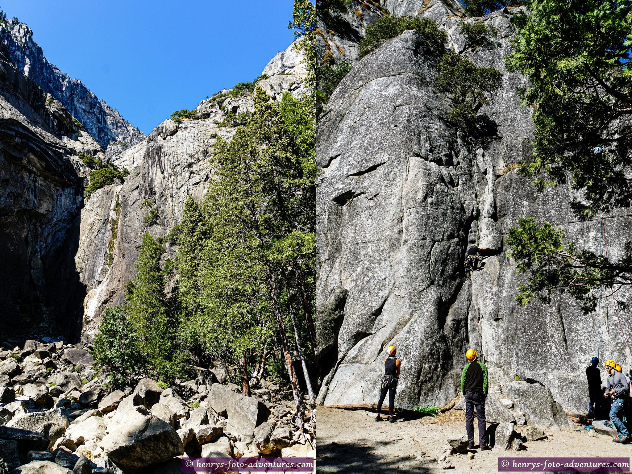 die Steinwände sind bei Kletterern sehr beliebt