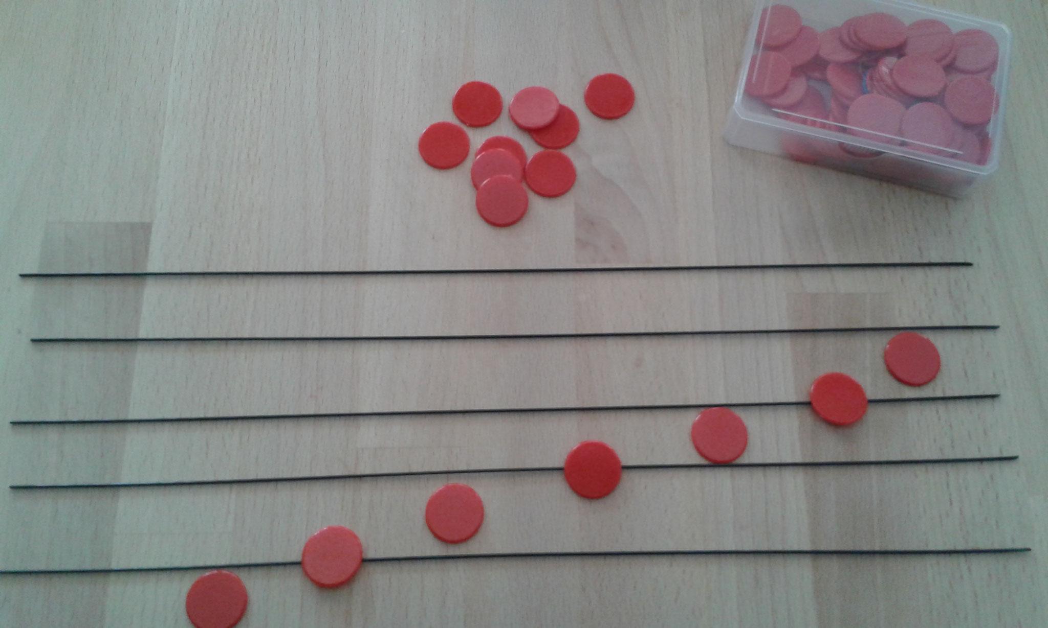 spontanes Noten lernen mit Matheplättchen