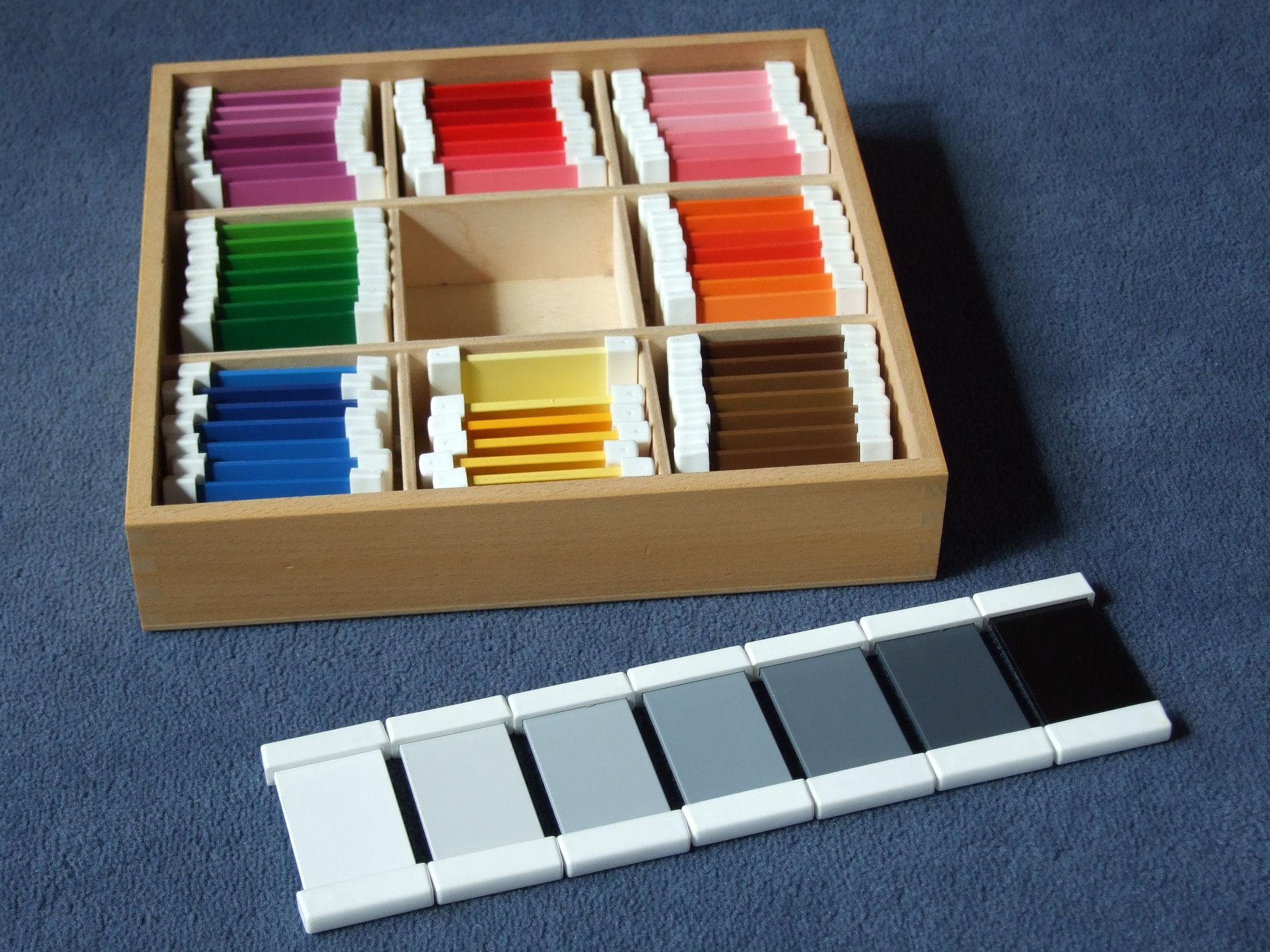 Farbtäfelchen: Schattierungskasten mit 9 Farben
