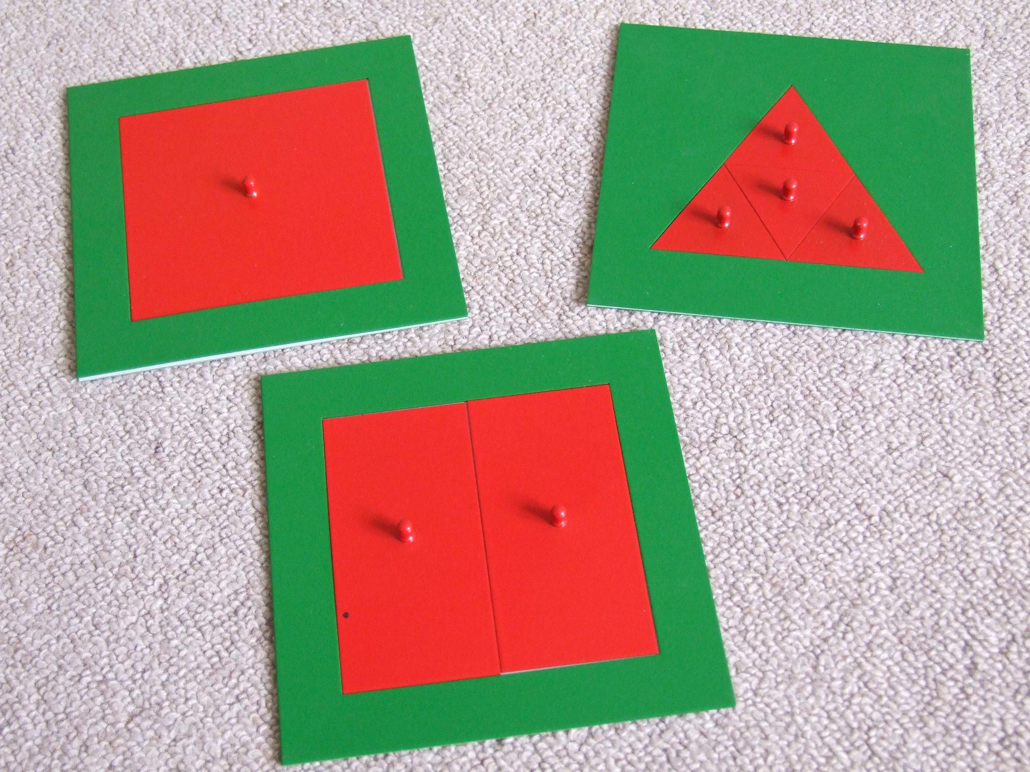 Aufgeteilte Dreiecke und Quadrate aus Metall für erste Erfahrungen in Geometrie