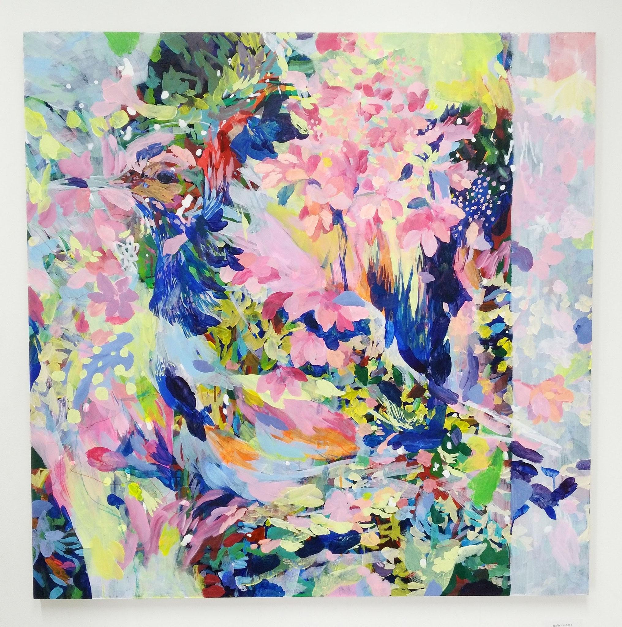 """""""鳥がみている空""""  acrylic,colorpencil on panel 91×91cm,2017"""