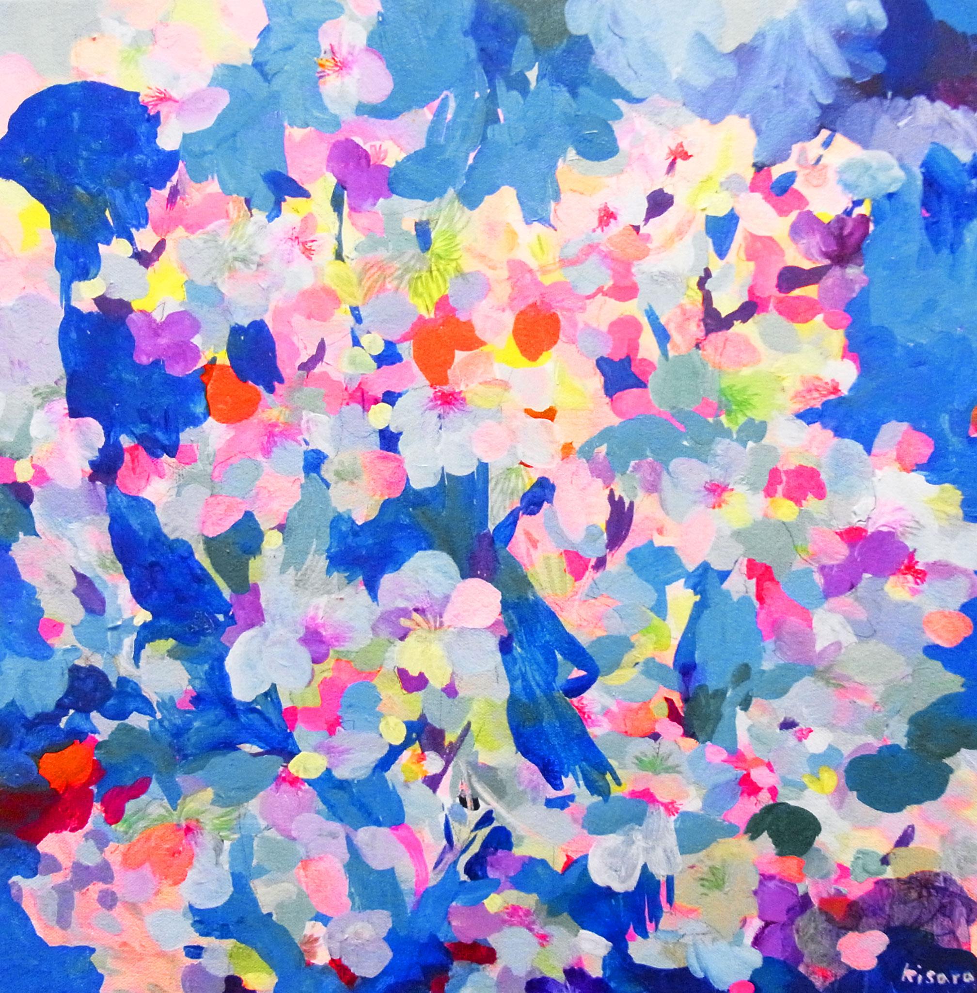"""""""鳥がみている空-鳩-""""  acrylic,colorpencil on canvas 41×41cm,2017"""