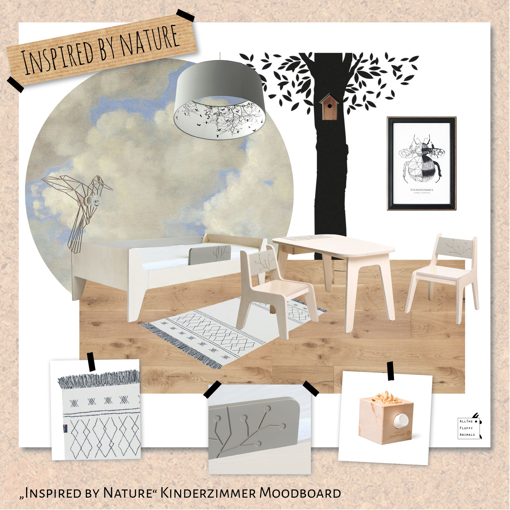 "Deckenlampe im Kinderzimmer-Moodboard ""Inspired by nature"""